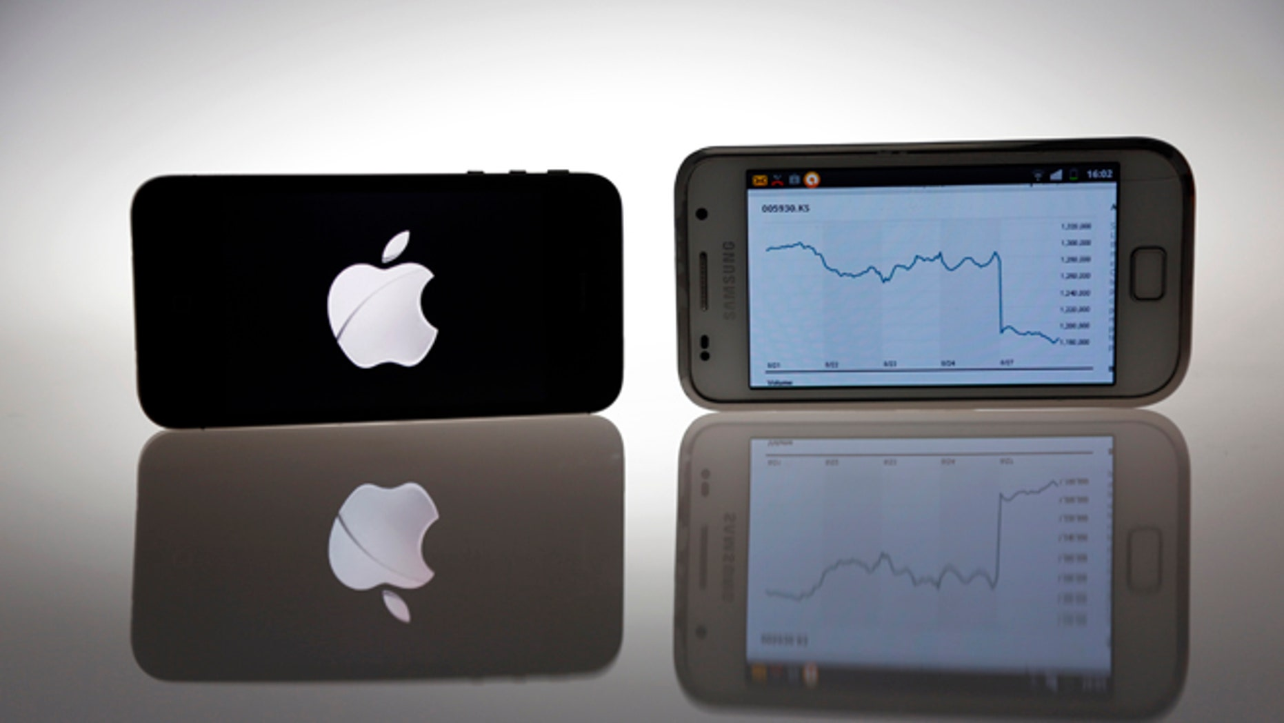 Aug. 27, 2012: An Apple IPhone 4s and Samsung Galaxy S are seen in this illustration photo in Berlin.