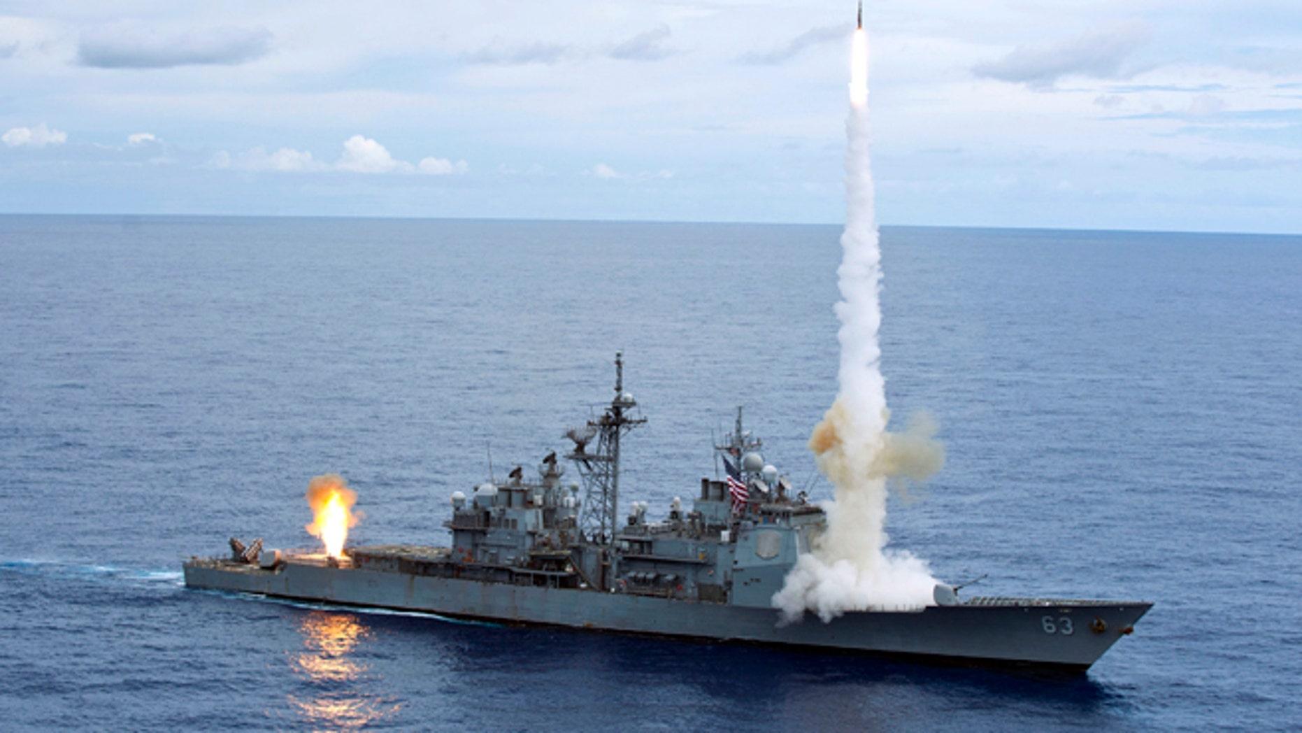 The Ticonderoga-class guided-missile cruiser USS Cowpens (CG 63).