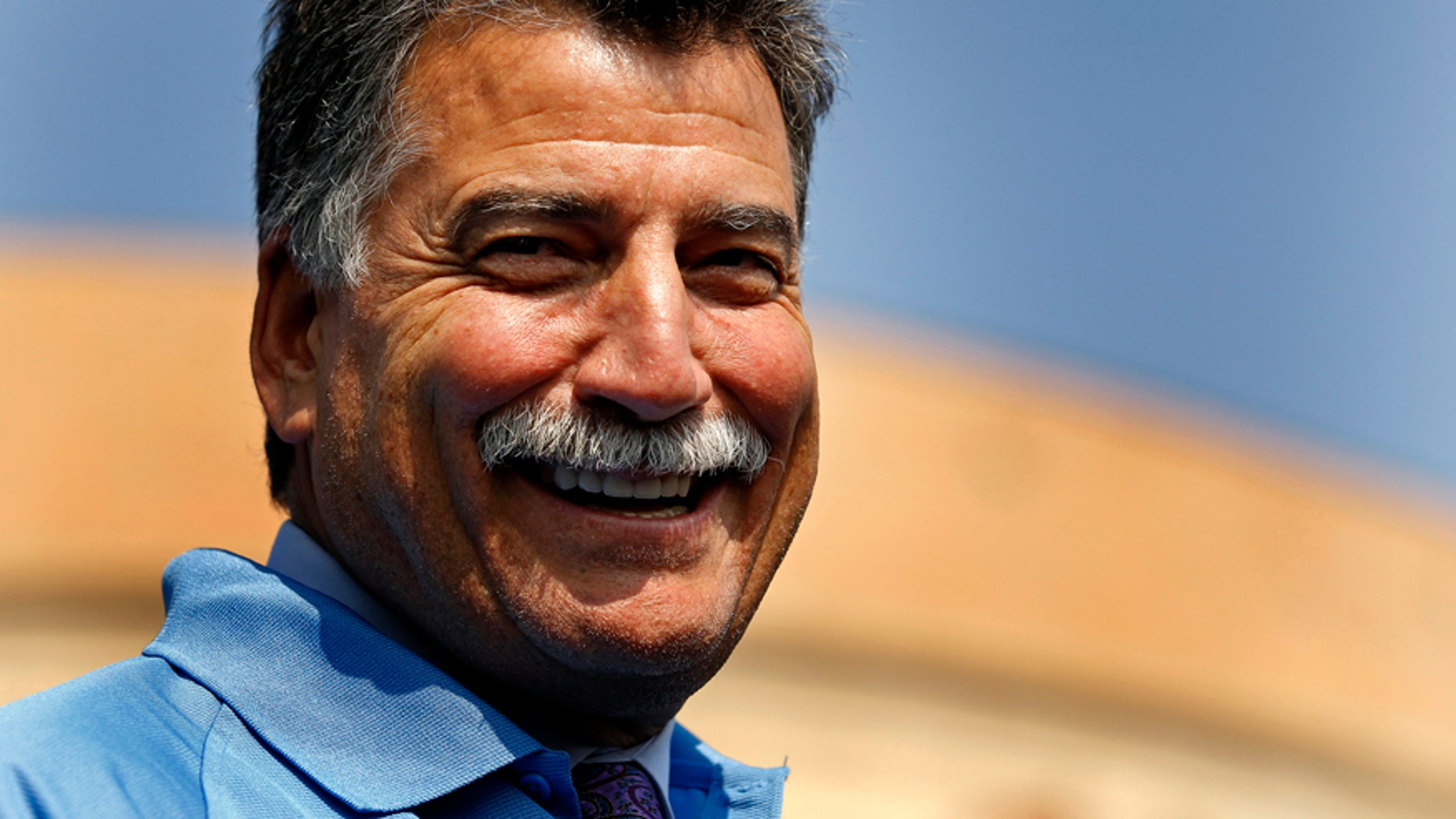 Former New York Mets All-Star Keith Hernandez smiles prior to having his moustache shaved for charity in front of CitiField in New York, September 27, 2012.