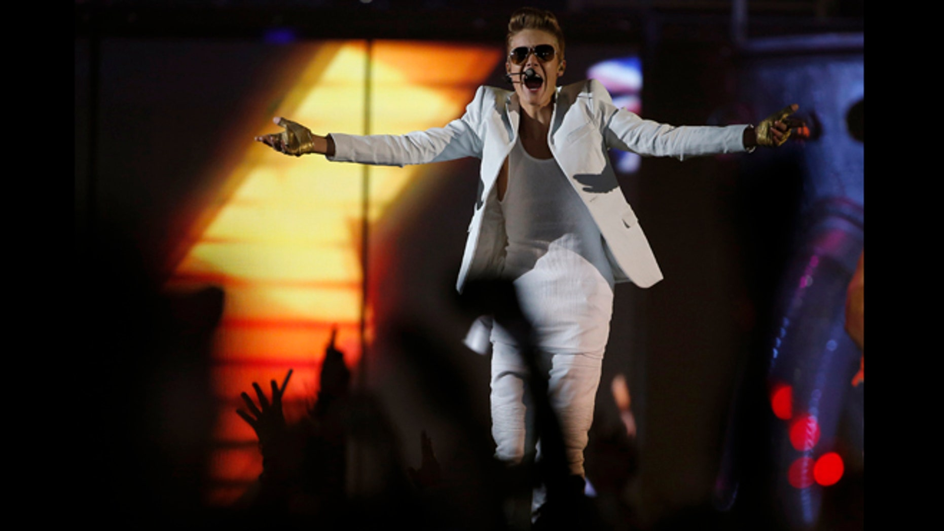 Feb. 21, 2013: Canadian singer Justin Bieber performs in a concert at the Manchester Arena in Manchester, northern England.