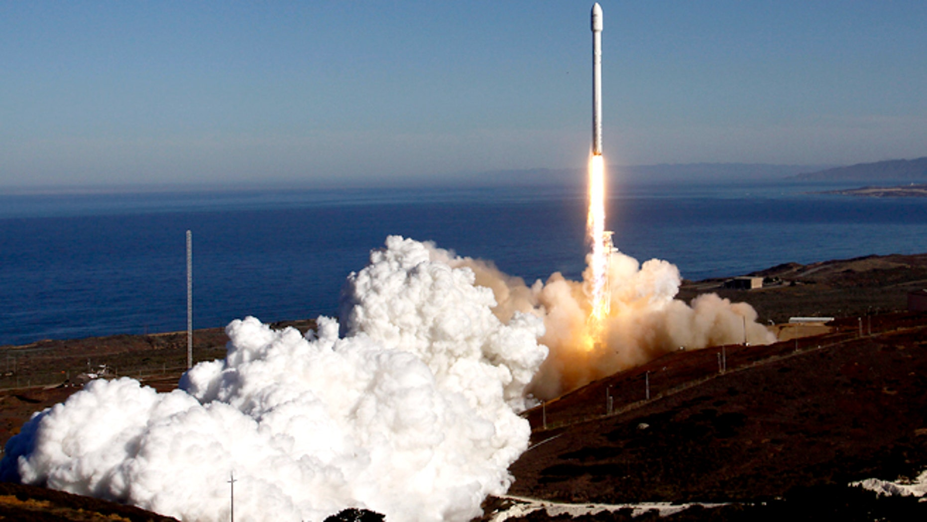 A Falcon 9 rocket, built and flown by Space Exploration Technologies, or SpaceX, soared off a newly refurbished, leased launch pad at Vandenberg Air Force Station on September 29, 2013.