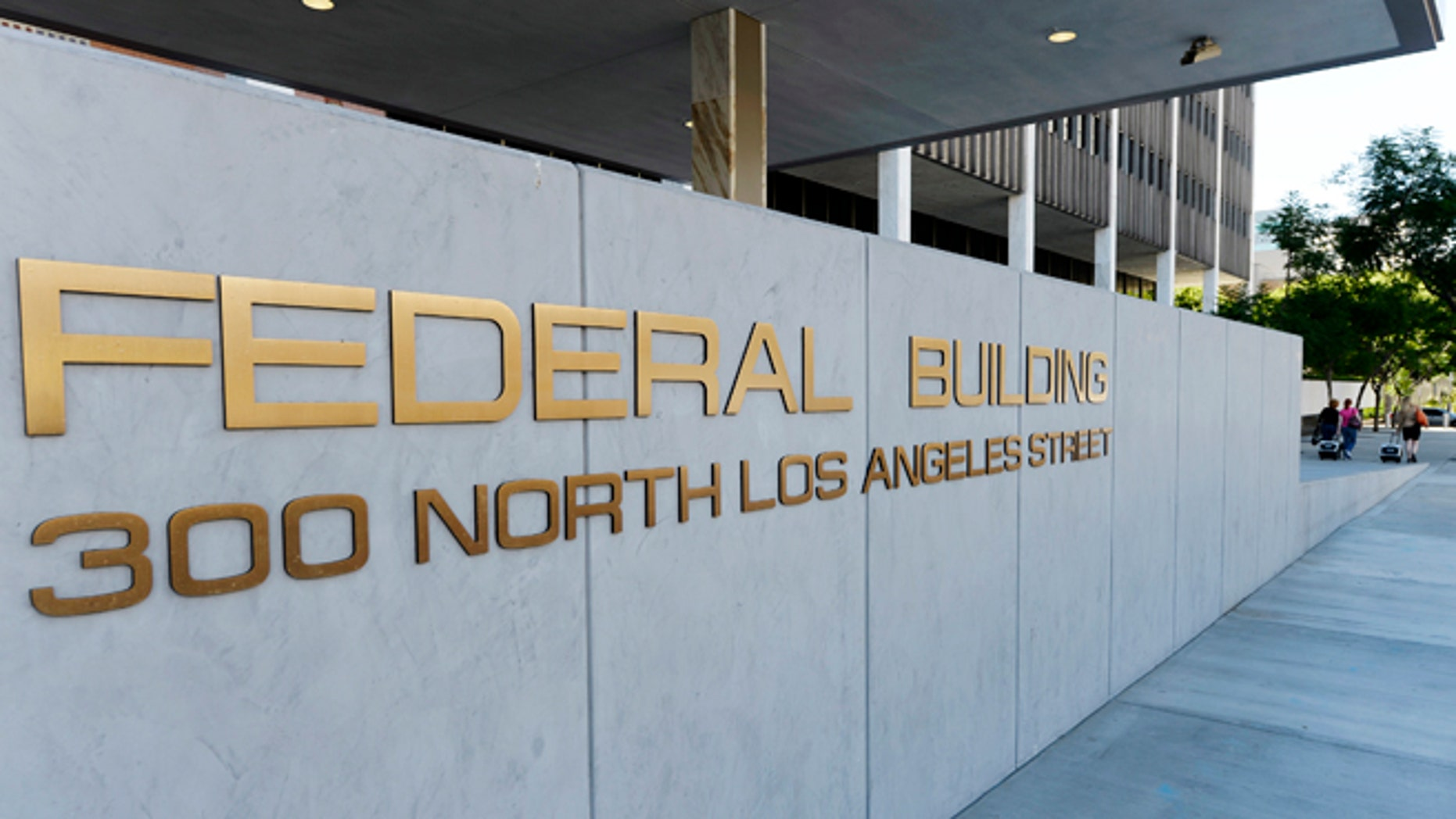 A view shows the sign for the Federal Building, where the Internal Revenue Service (IRS) offices are located, in Los Angeles, California.