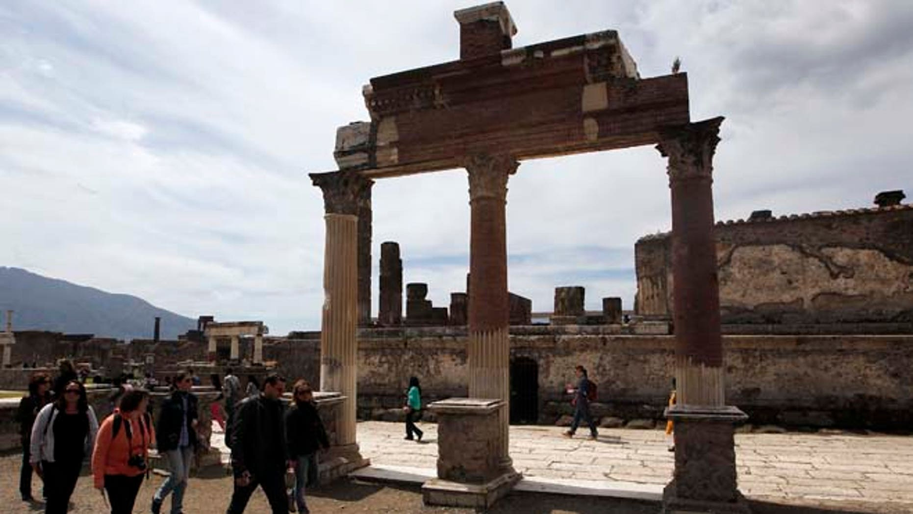 April 17, 2015: People visit the ruins at the ancient archaeological site of Pompeii.