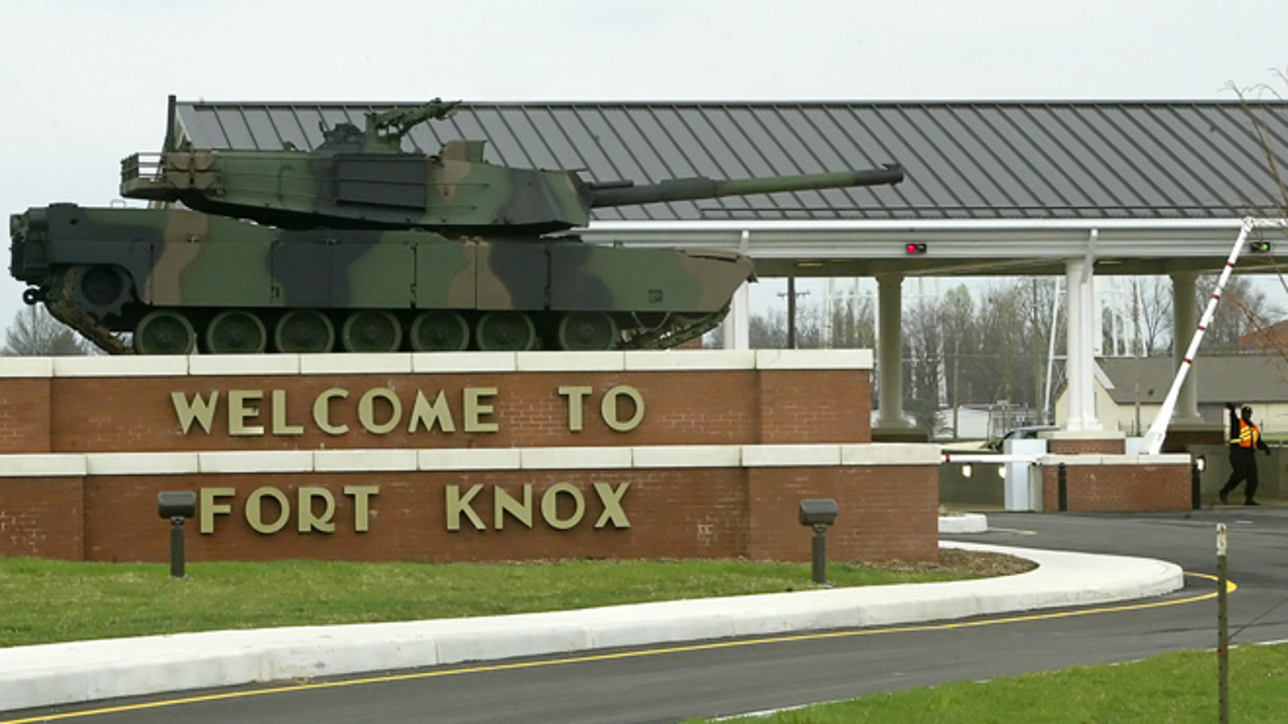 April 7, 2005: The gate to the U.S. Army Armor Center in Fort Knox, Ky.