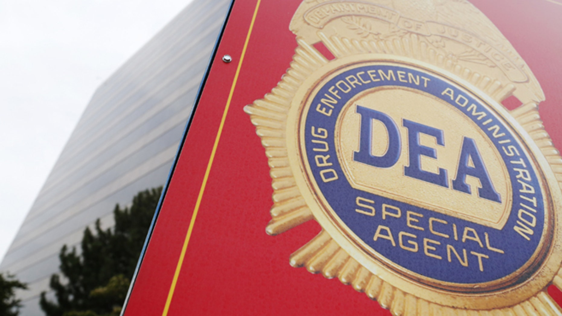 A sign with a DEA badge marks the entrance to the U.S. Drug Enforcement Administration (DEA) Museum in Arlington, Virginia.
