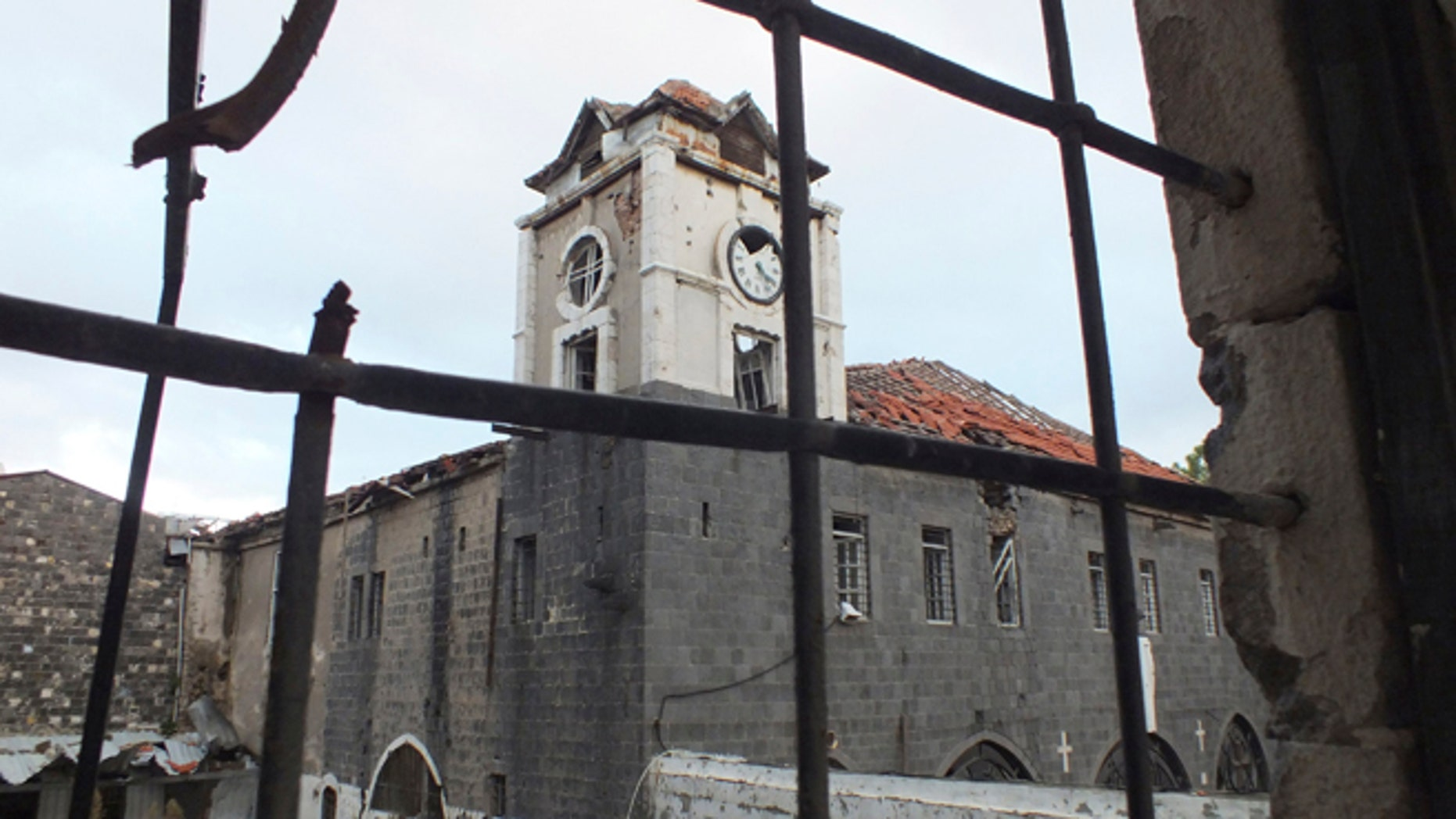 An old damaged Orthodox Church is pictured in the besieged area of Homs.