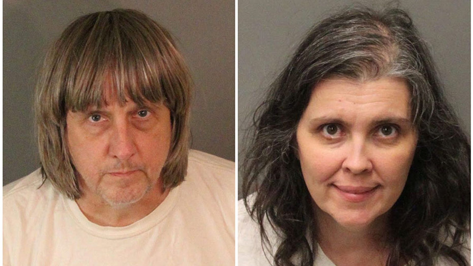 A combination photo of David Allen Turpin (L) and Louise Ann Turpin as they appear in booking photos provided by the Riverside County Sheriff's Department in Riverside County, California, Jan. 15, 2018.