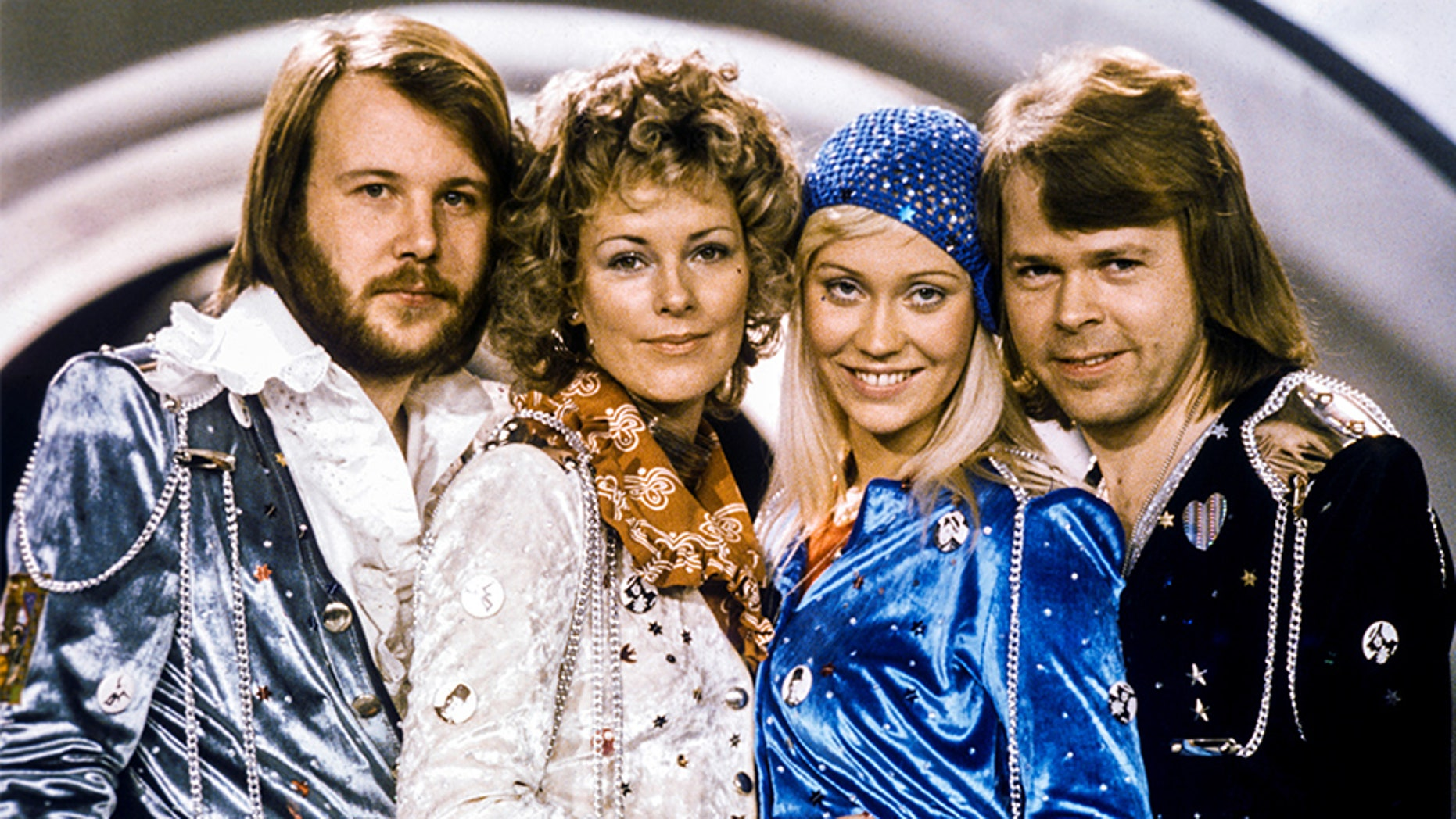 "Swedish pop group ABBA: Benny Andersson, Anni-Frid Lyngstad, Agnetha Faltskog and Bjorn Ulvaeus pose after winning the Swedish branch of the Eurovision Song Contest with their song ""Waterloo"", February 9, 1974."