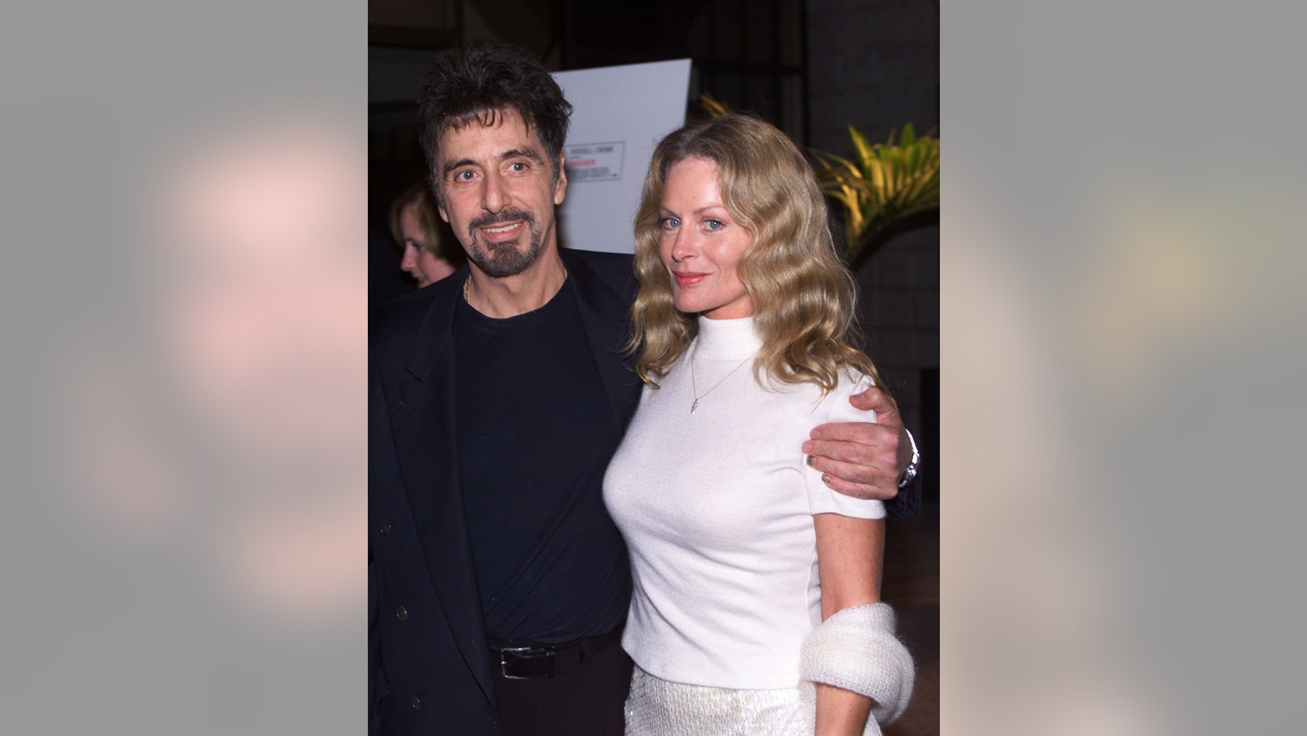 "In this 1999 photo, actor Al Pacino, (L) star of the new film ""The Insider"", poses with girlfriend Beverly D'Angelo at the film's premiere in Beverly Hills."