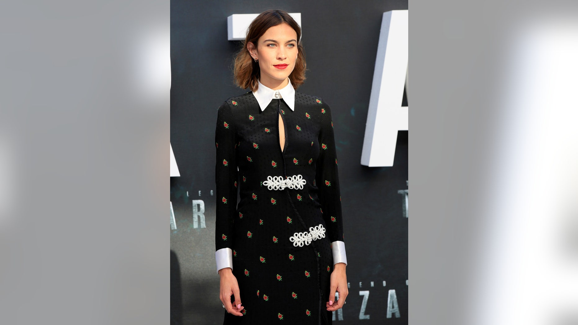 """British model Alexa Chung poses at the European premiere of the film """"The Legend of Tarzan"""" at Leicester Square in London."""