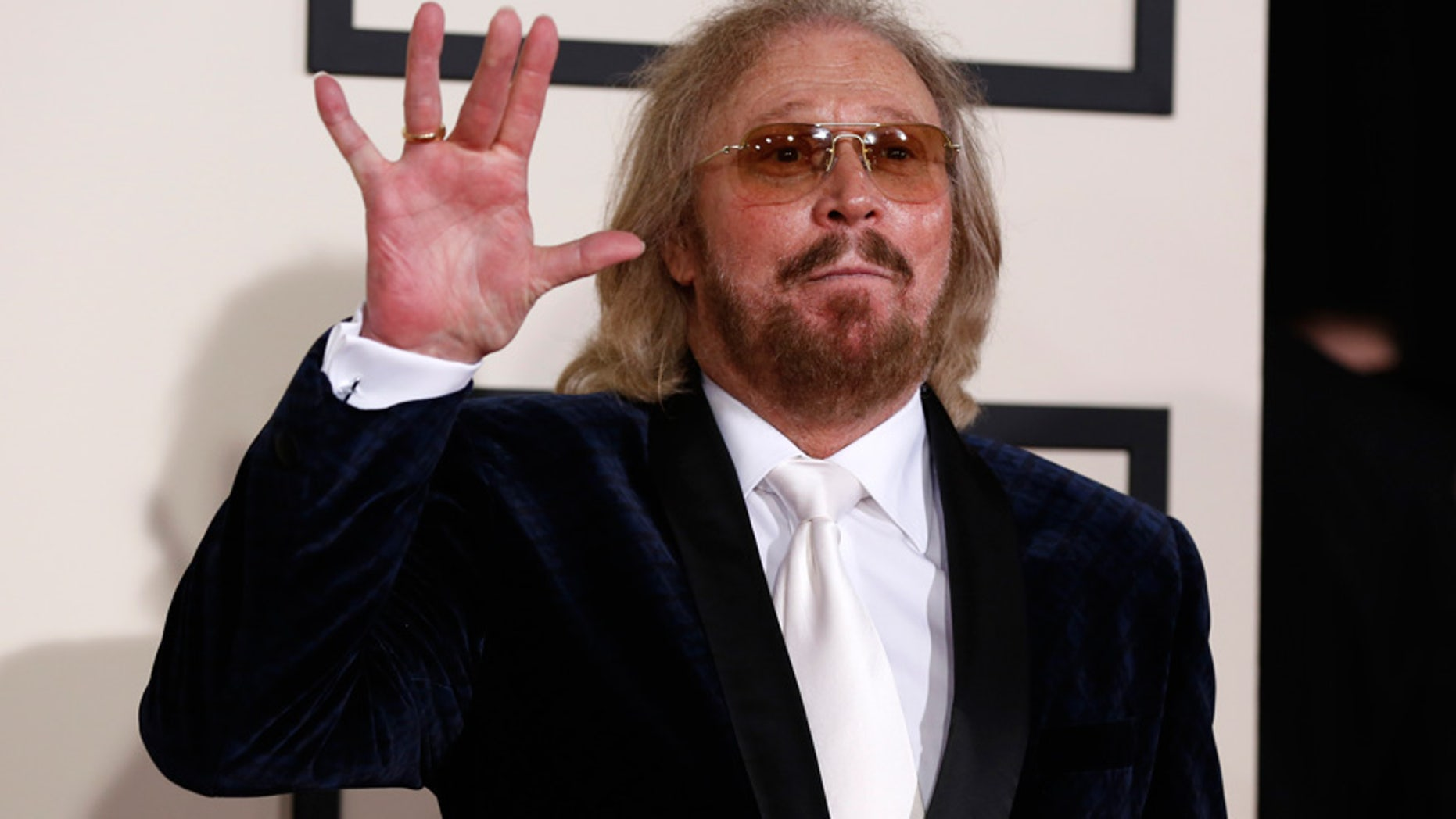Musician Barry Gibb arrives at the 57th annual Grammy Awards in Los Angeles, California February 8, 2015.