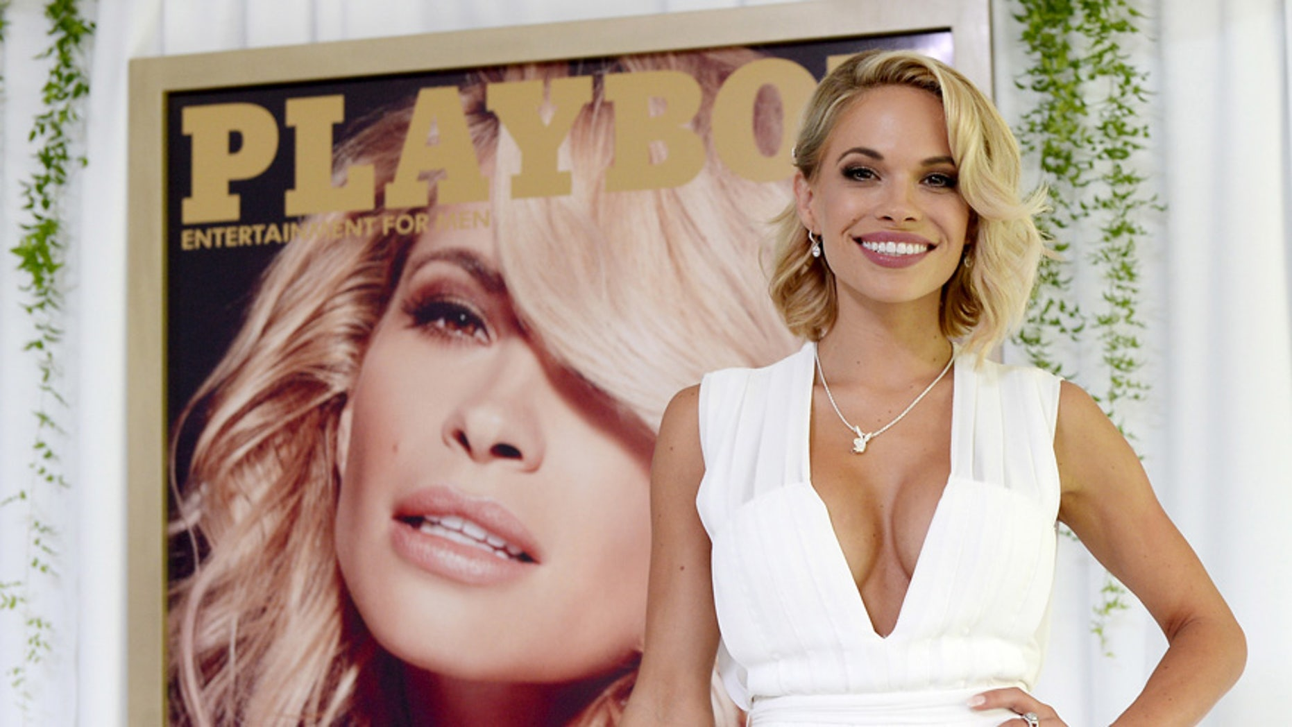Dani Mathers, the 2015 Playmate of the Year, poses during a luncheon on the garden grounds of the Playboy Mansion in Los Angeles, California May 14, 2015.