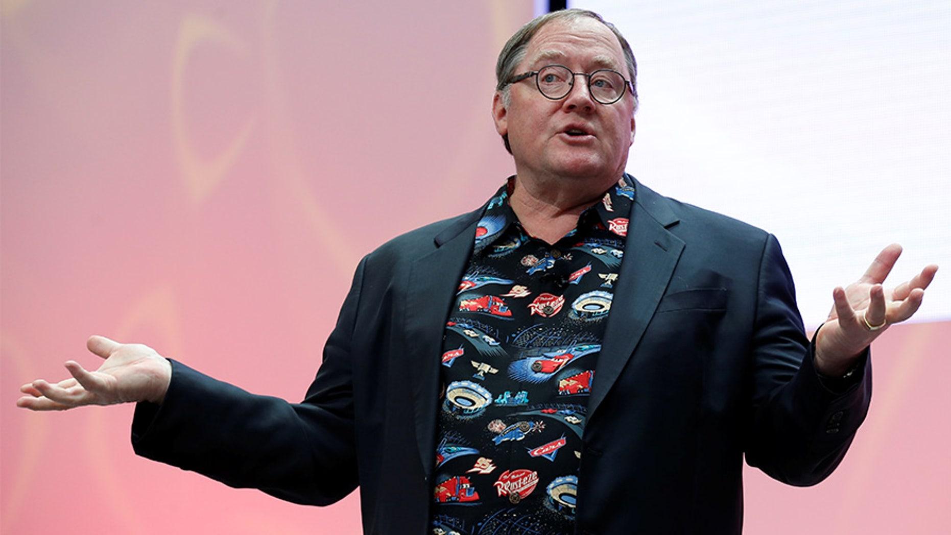 John Lasseter, Chief Creative Officer of Walt Disney and Pixar Animation Studios, speaks during the North American International Auto Show in Detroit, Michigan, U.S., January 8, 2017.  REUTERS/Brendan McDermid - RC1F00107D90