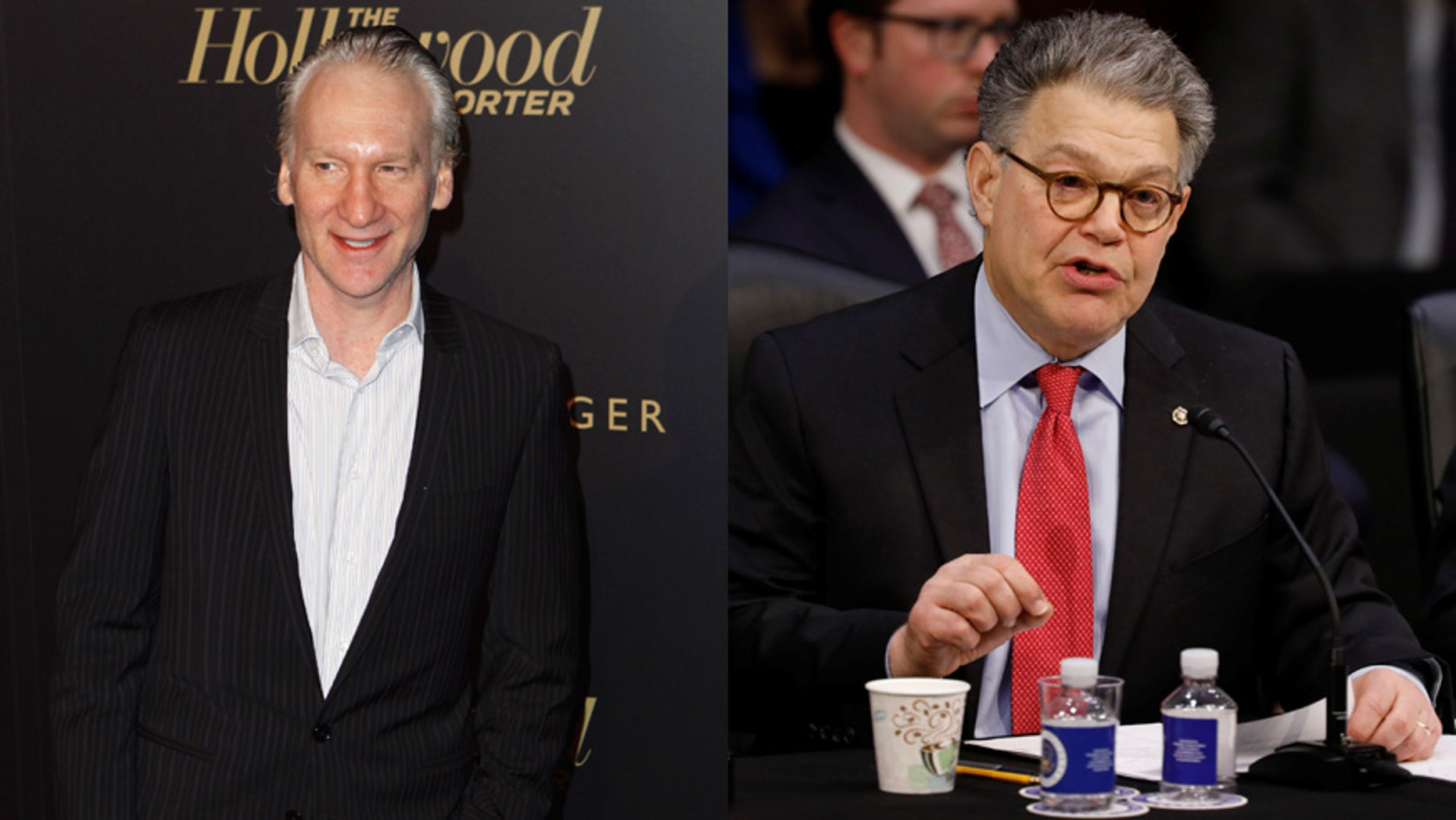 "Senator Al Franken (right) changed his plans to appear on ""Real Time with Bill Maher."""