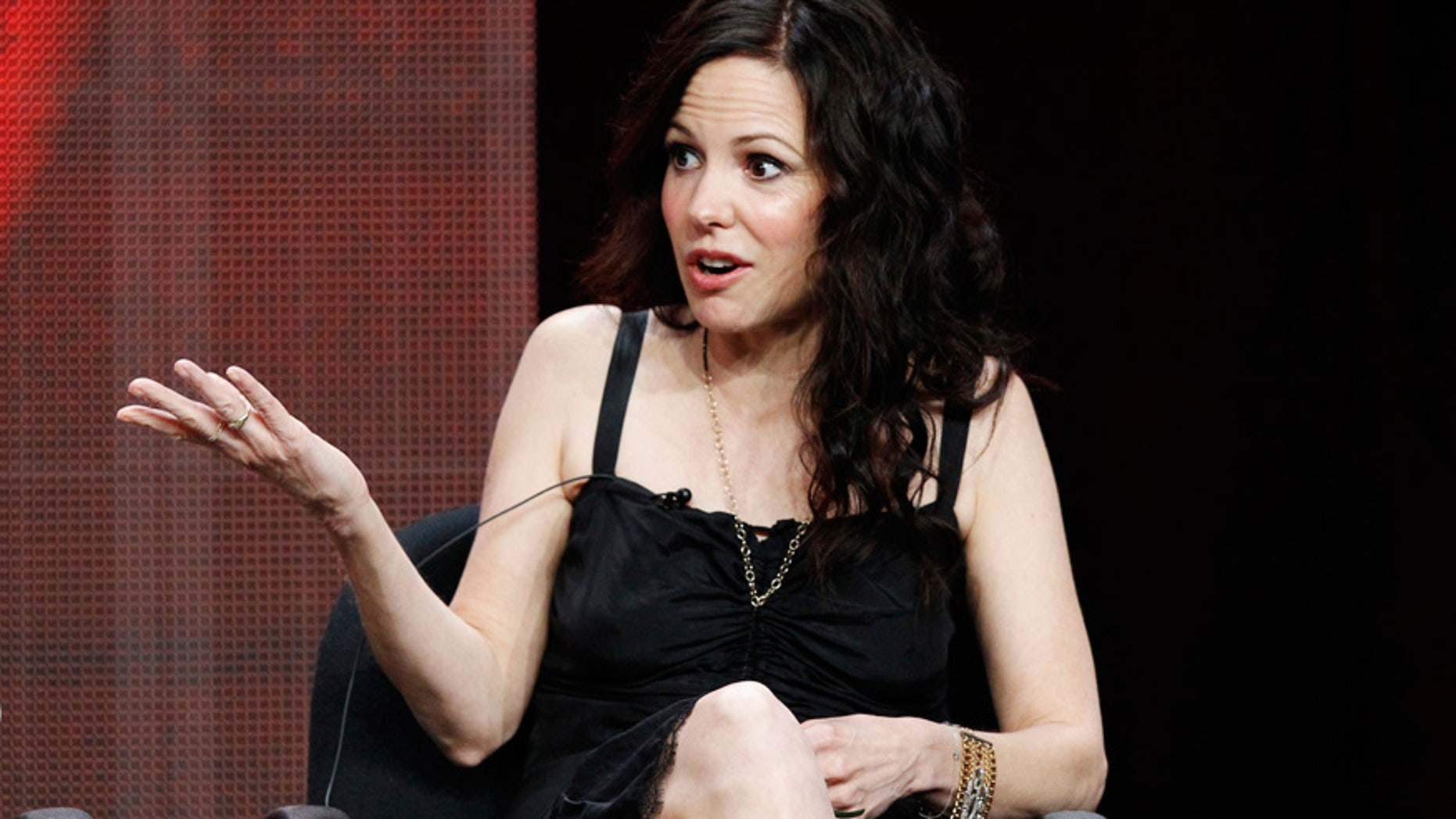 """Cast member Mary-Louise Parker speaks at a panel for """"Weeds"""" during the Showtime television portion of the Television Critics Association Summer press tour in Beverly Hills."""