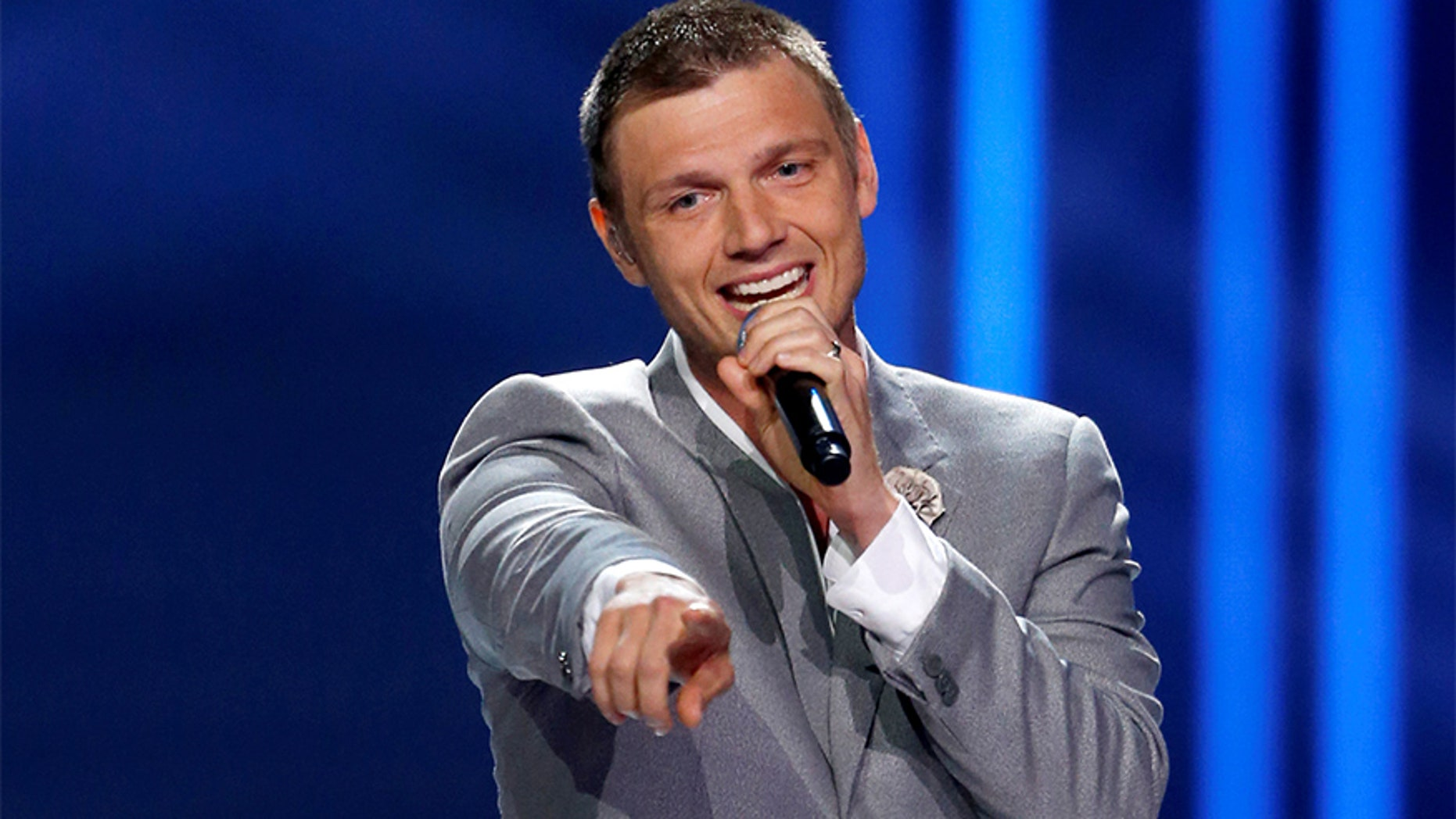 Nick Carter performs with the Backstreet Boys during the 2016 Miss USA pageant at the T-Mobile Arena in Las Vegas, Nevada, U.S., June 5, 2016. REUTERS/Steve Marcus - RTSG5GV