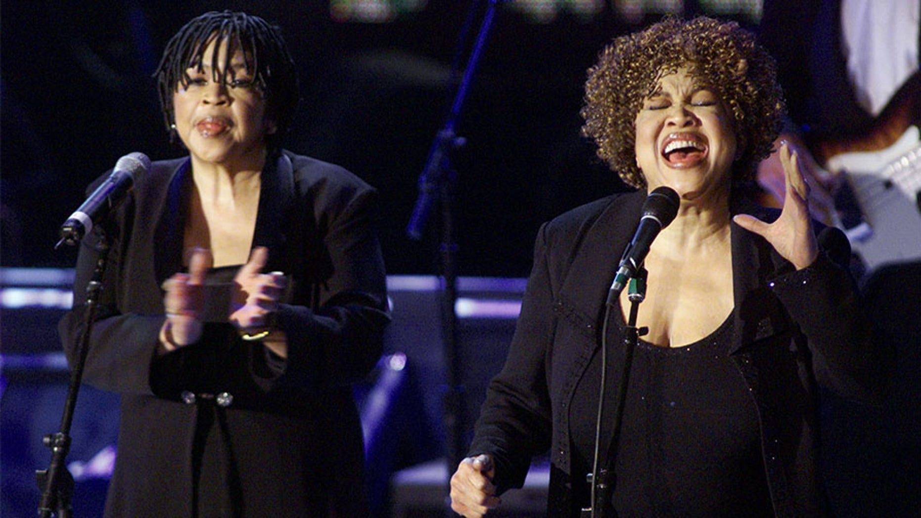 Mavis Staples (R) and Yvonne Staples (L) perform after they and the rest of the Staples Singers accepted their induction into the Rock & Roll Hall of Fame at the 14th Annual Rock and Roll Hall of Fame Induction Ceremony at New York's Waldorf Astoria Hotel, March 15.