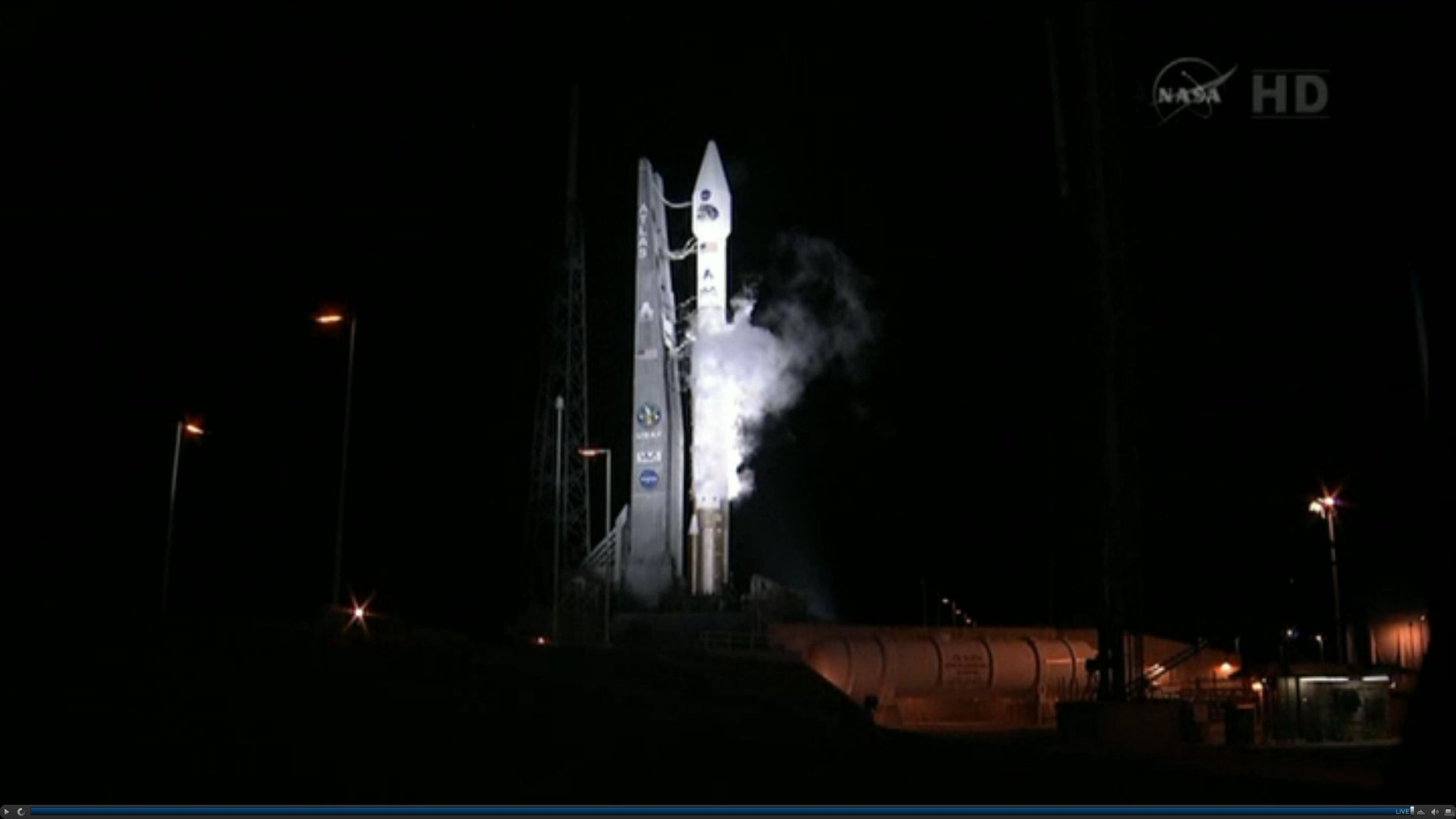 Aug. 24, 2012: This framegrab image provided by NASA-TV shows the Atlas V first stage and Centaur upper stage sitting on the launch pad at Cape Canaveral Air Force Station, Florida just prior to launch.