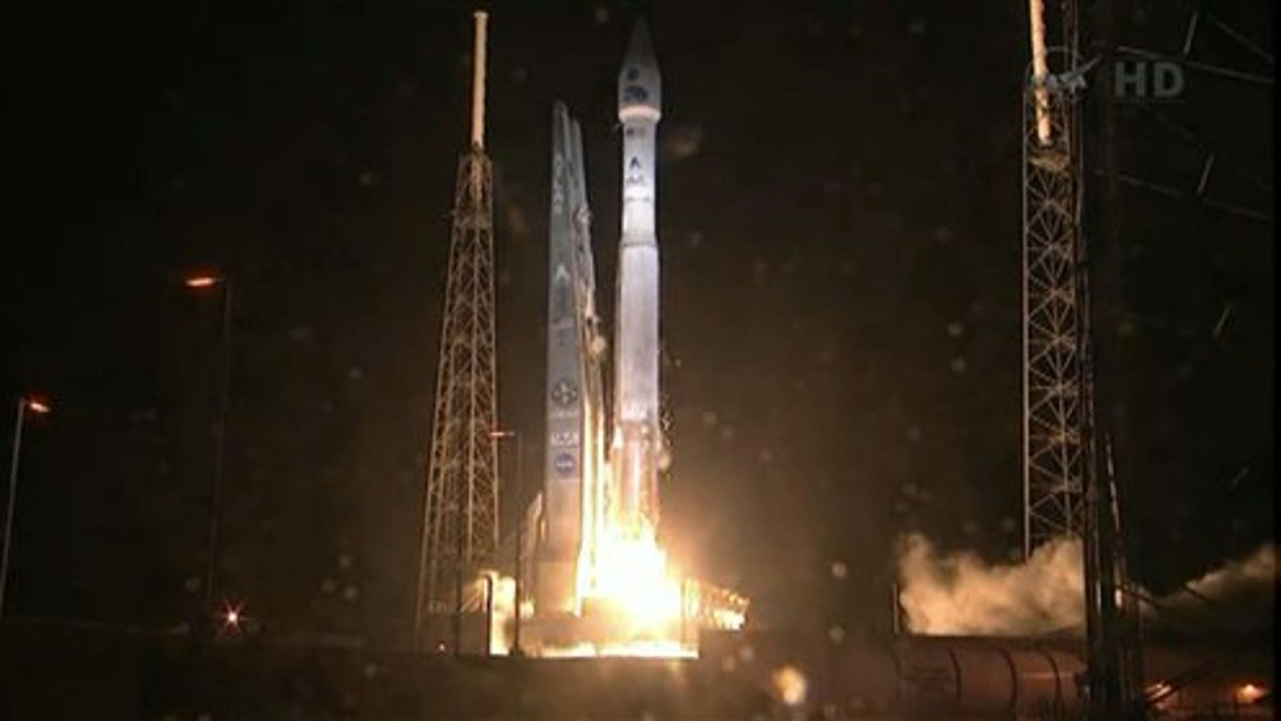 Aug. 30, 2012: This framegrab image provided by NASA-TV shows the Atlas V first stage and Centaur upper stage as it lifts off the launch pad at Cape Canaveral Air Force Station, Florida.