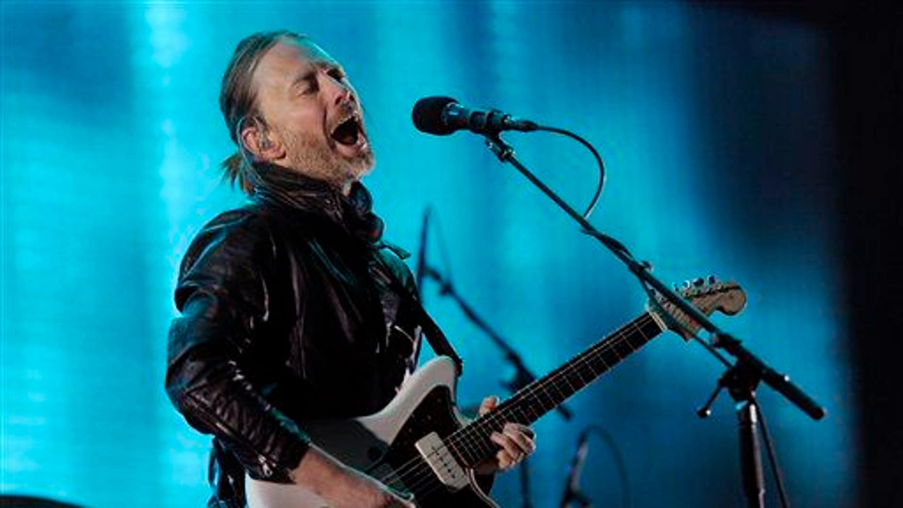 Thom Yorke of Radiohead performs during the band's headlining set on the first weekend of the 2012 Coachella Valley Music and Arts Festival on April 14, 2012, in Indio, Calif.