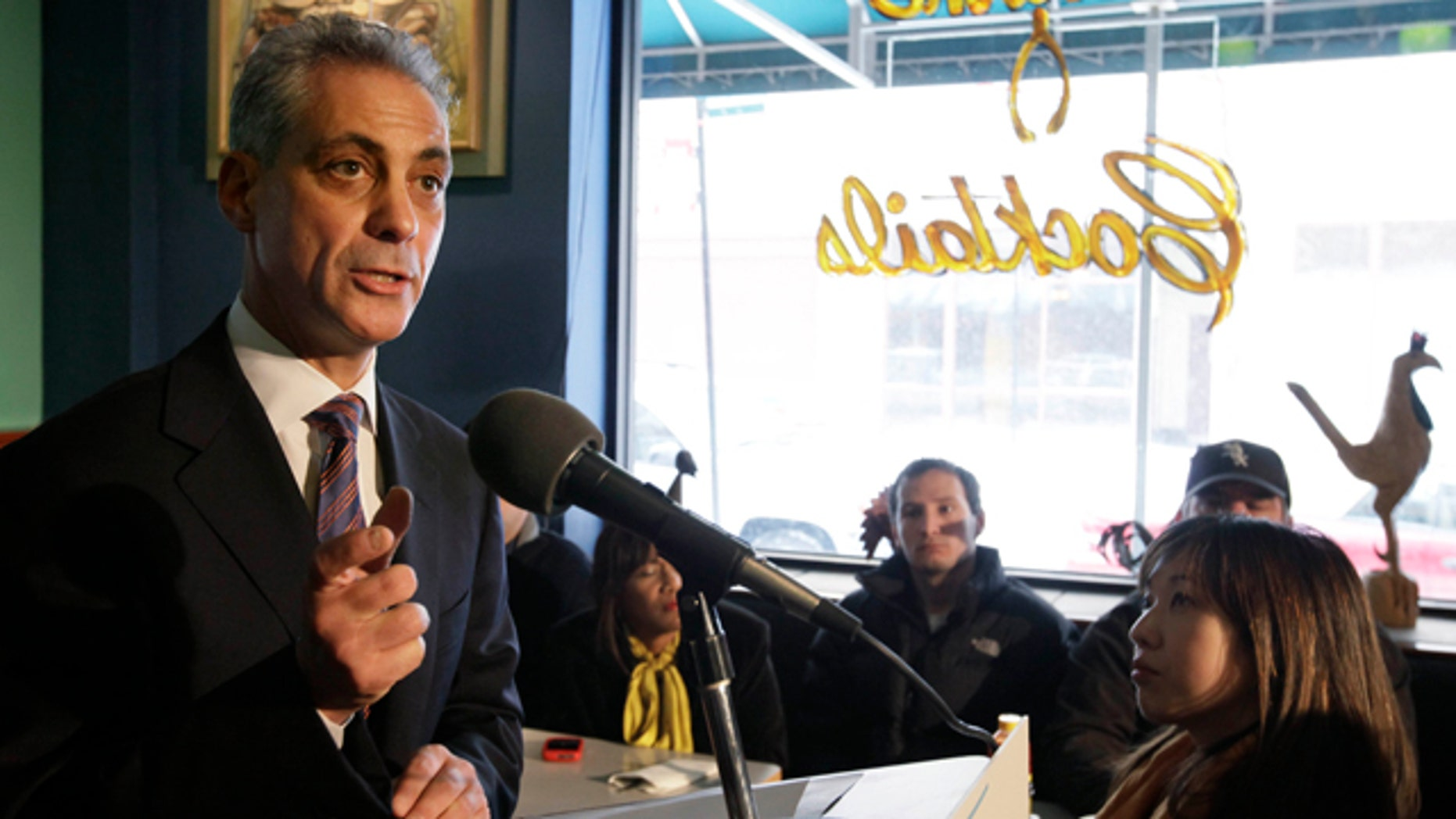 Jan. 27, 2011: Former White House Chief of Staff Rahm  Emanuel speaks after being endorsed by U.S. Rep. Mike Quigley