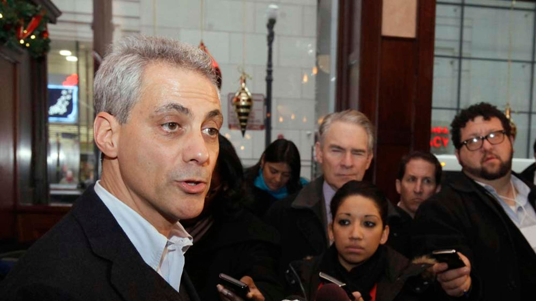 Chicago Mayor Rahm Emanuel speaks at a press conference in Chicago.