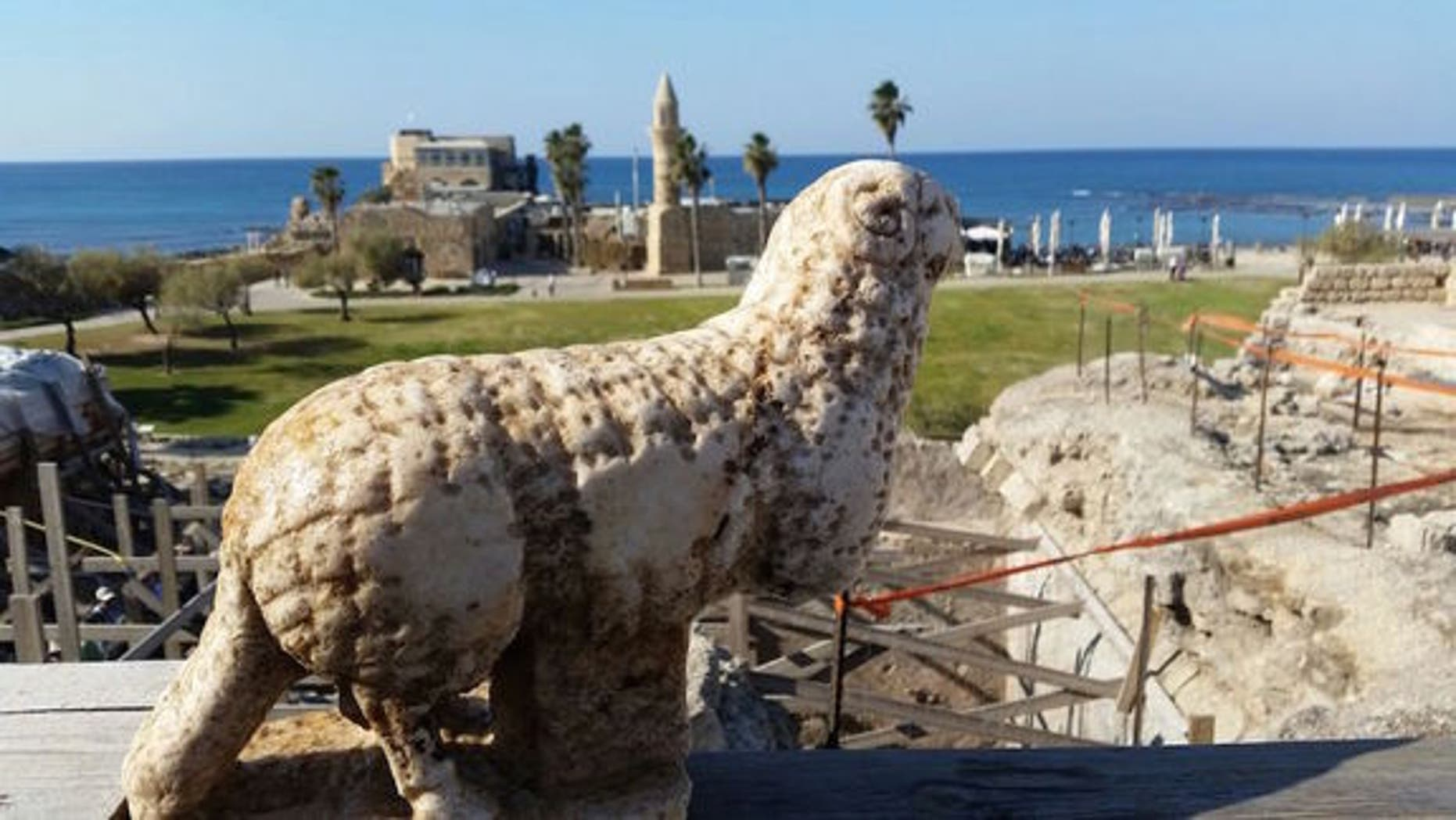 Archaeologists found an ancient marble ram in Caesarea Harbor National Park along Israel's Mediterranean coast.