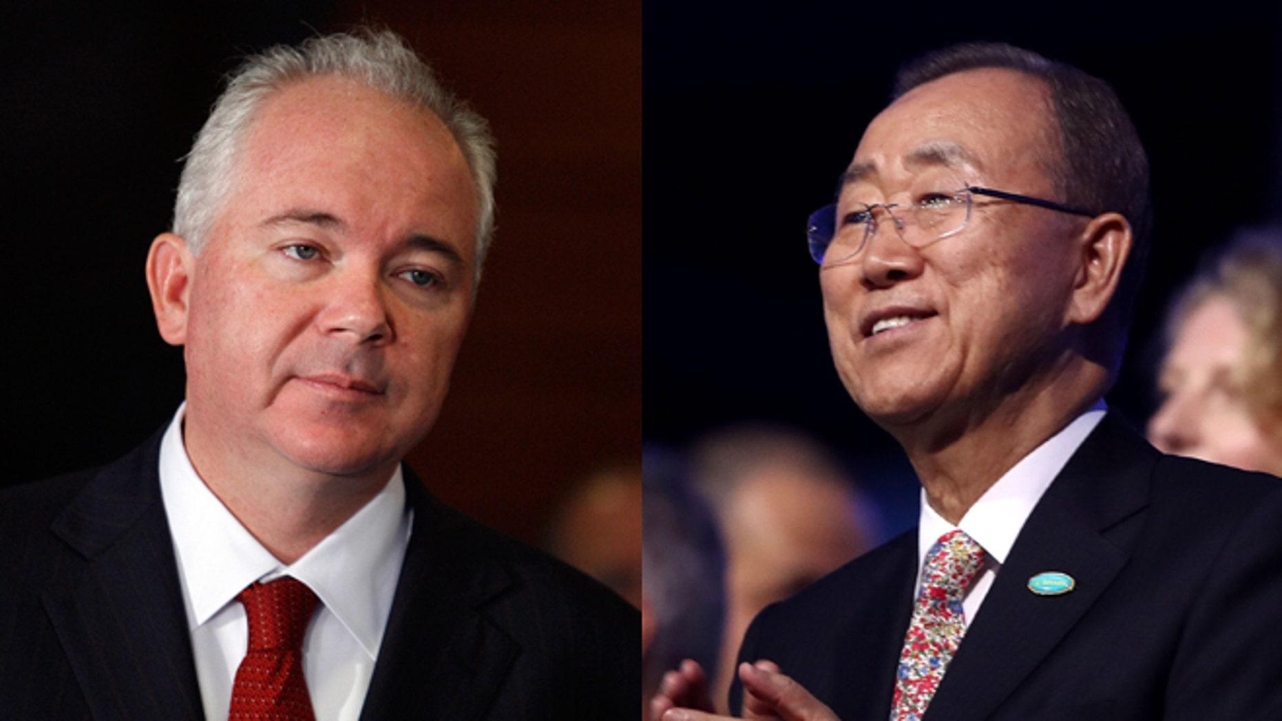 Venezuela's U.N. ambassador, Rafael Ramirez (left), and U.N. Secretary General Ban Ki-moon (Photos: Getty Images)