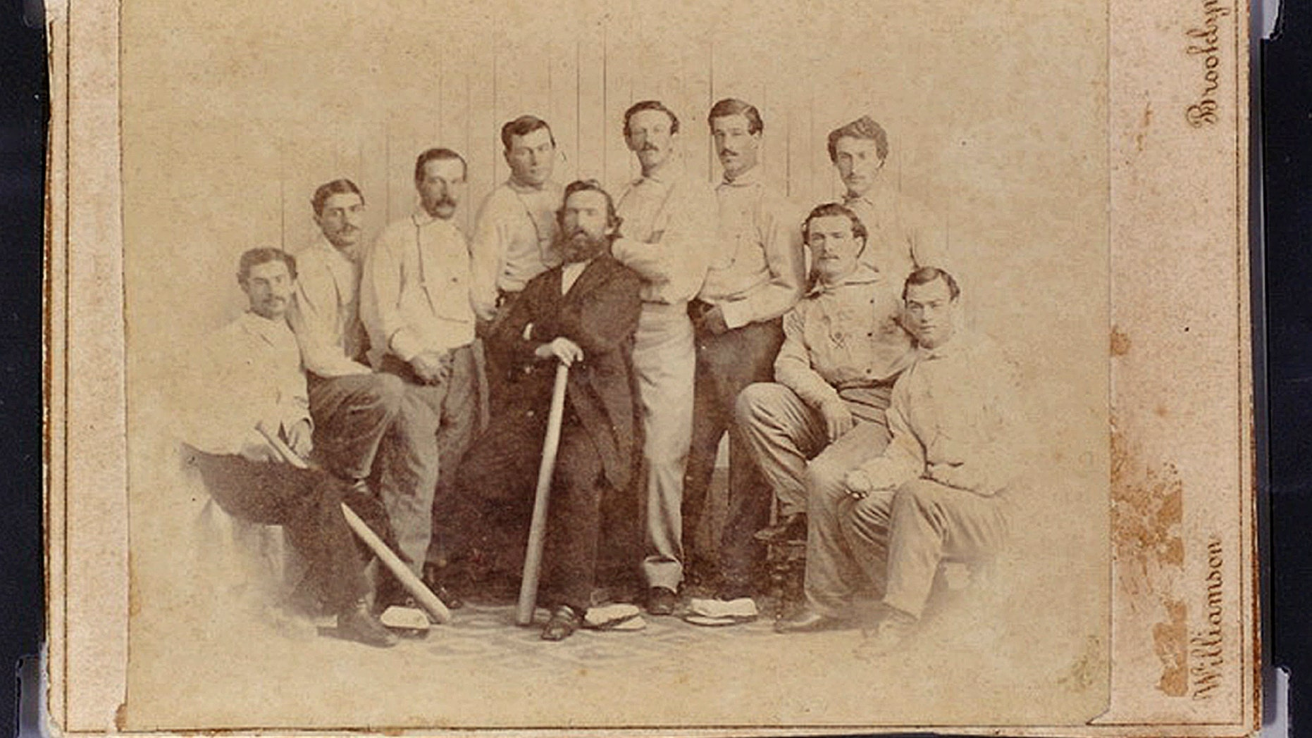 Jan 9, 2013: This photo released by the Saco River Auction Co., in Biddeford, Maine, shows a rare 1865 baseball card of the Brooklyn Atlantics, discovered in a photo album bought at a yard sale in Baileyville, Maine, on the Canadian border