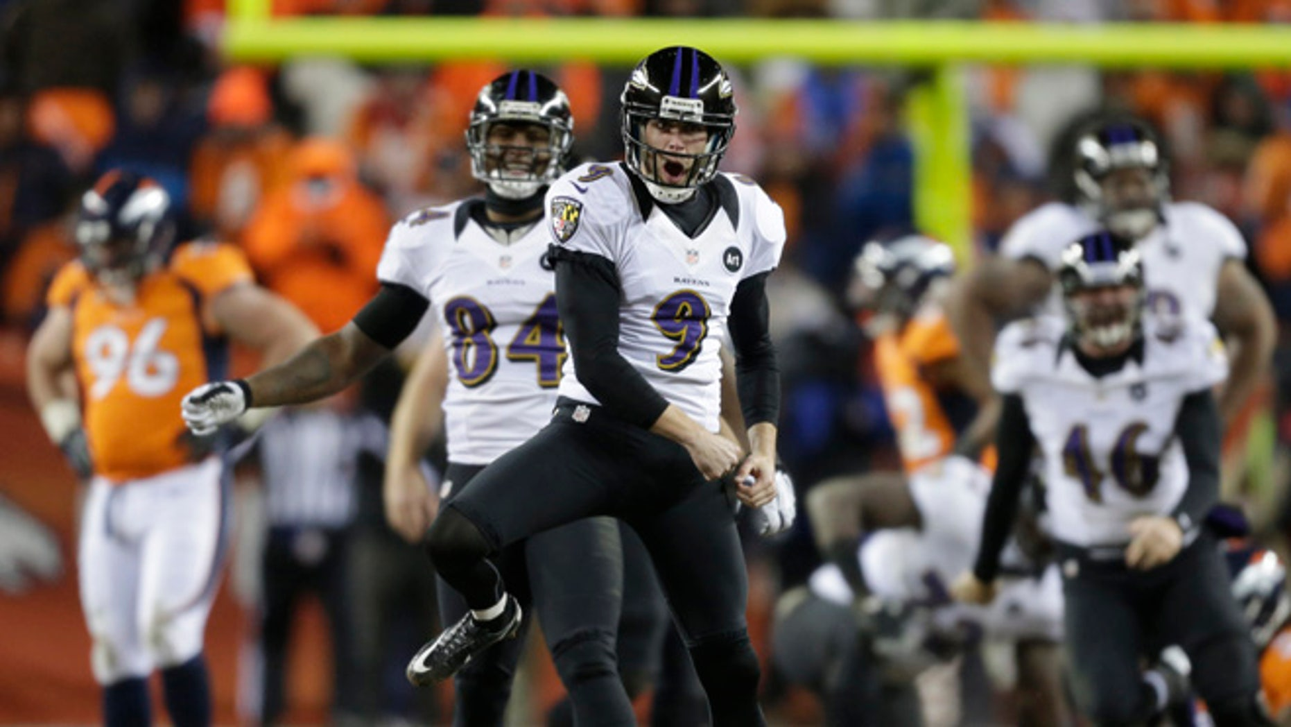 Jan. 12, 2013: Baltimore Ravens kicker Justin Tucker (9) reacts after hitting the winning field goal against the Denver Broncos in overtime of an AFC divisional playoff NFL football game in Denver.