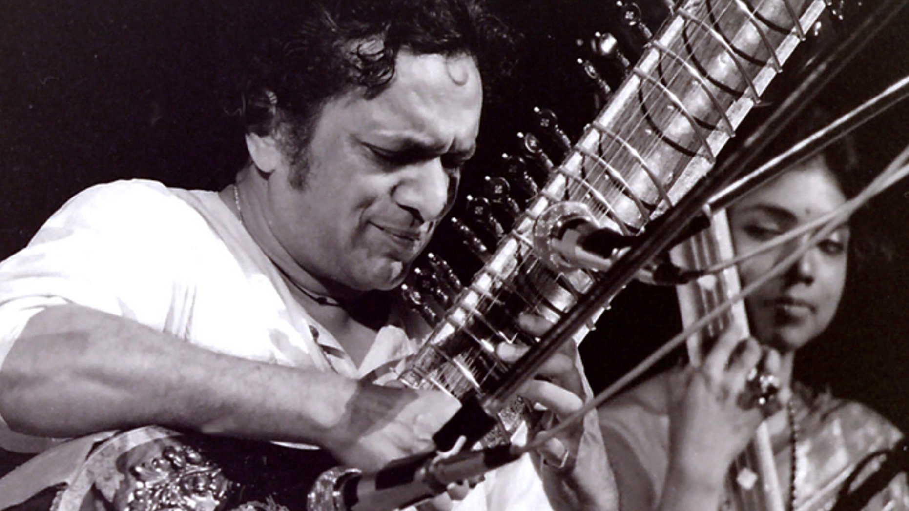 This August 1969 photo provided by Mark Goff shows Ravi Shankar performing at the Woodstock music festival.