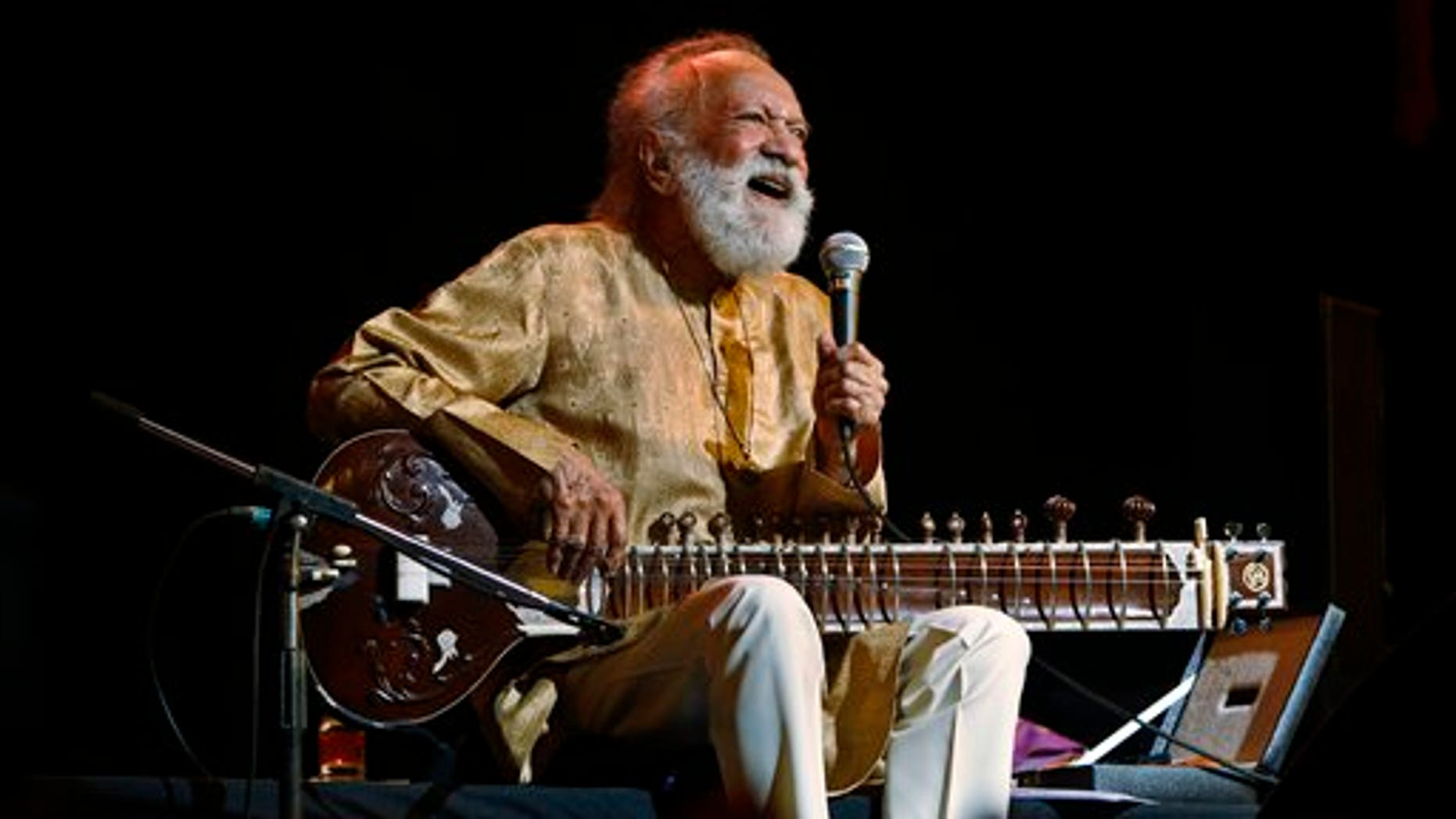 Feb. 7, 2012: Indian musician and sitar maestro Pandit Ravi Shankar, 92, performs during a concert in Bangalore, India.