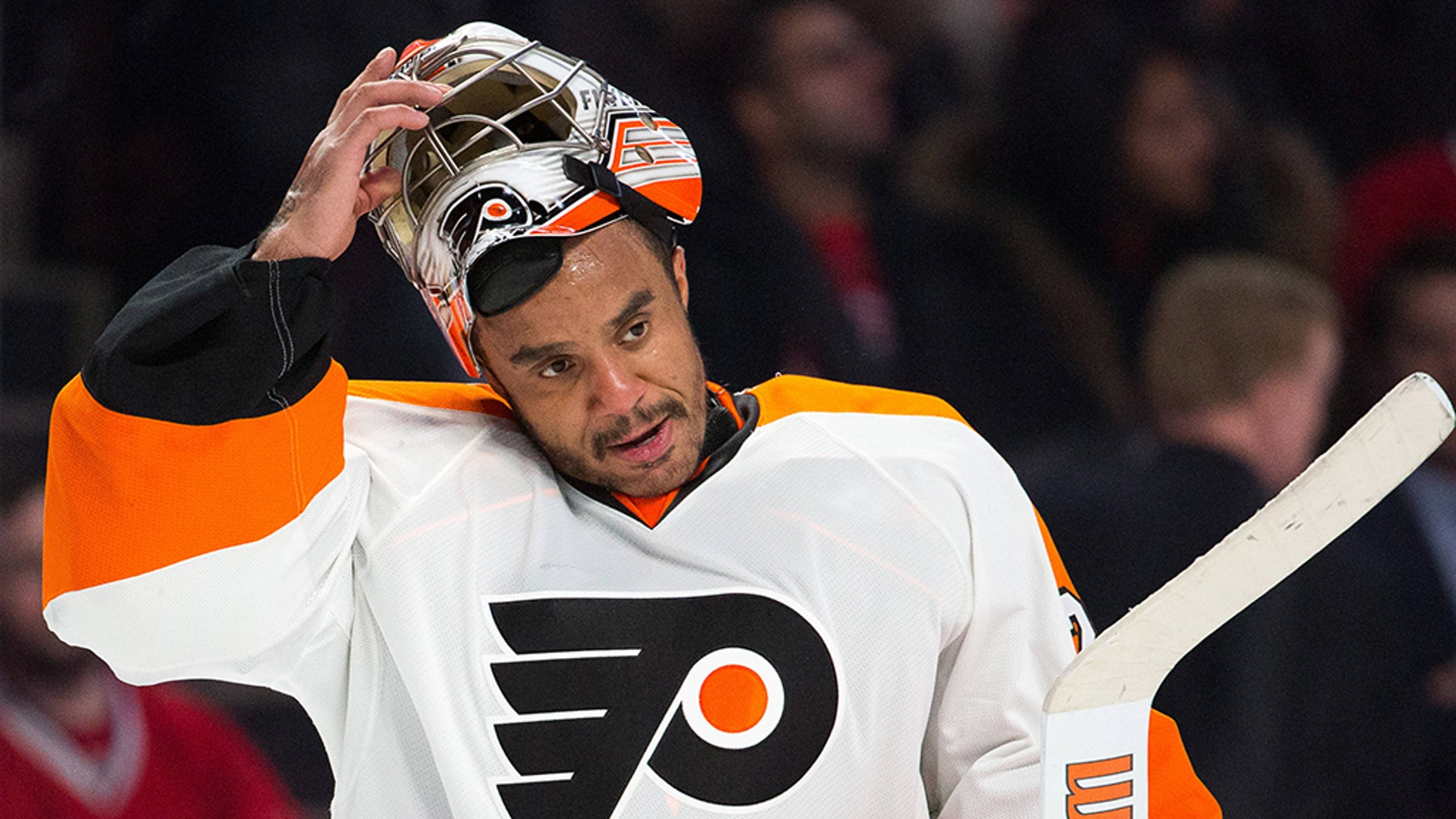 Ray Emery pictured in goal for the Philadelphia Flyers in February 2015, during his final National Hockey League season.