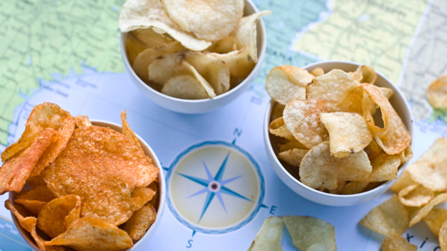 July 30, 2012: [from left] Poore Brothers Habanero, Route 11 Chips Chesapeake Crab, and Boulder Canyons Red Wine Vinegar, potato chips are shown in Concord, N.H.