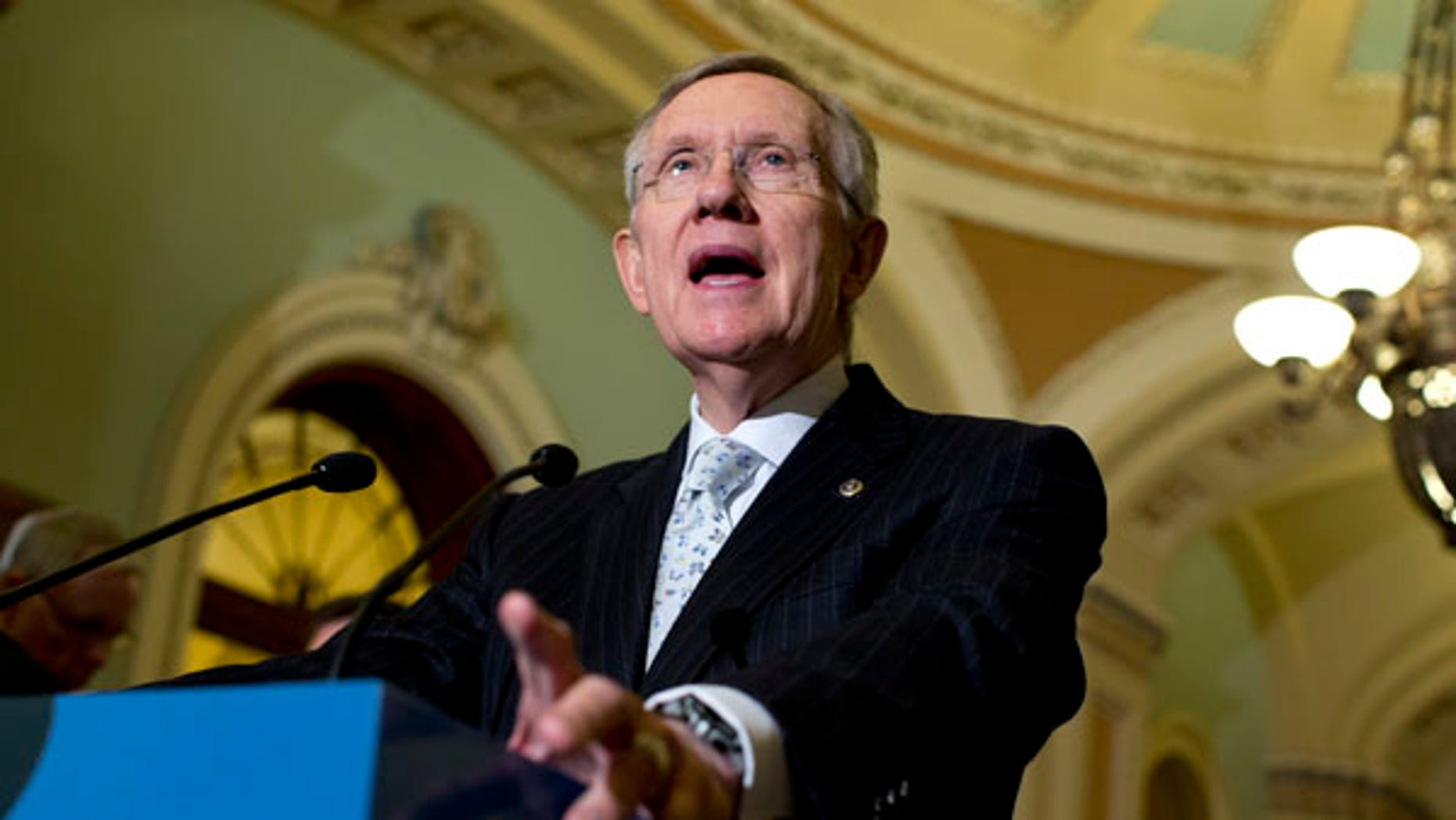 May 21, 2013: Senate Majority Leader Harry Reid of Nev. gestures during a news conference on Capitol Hill in Washington, following the Democratic policy luncheon.