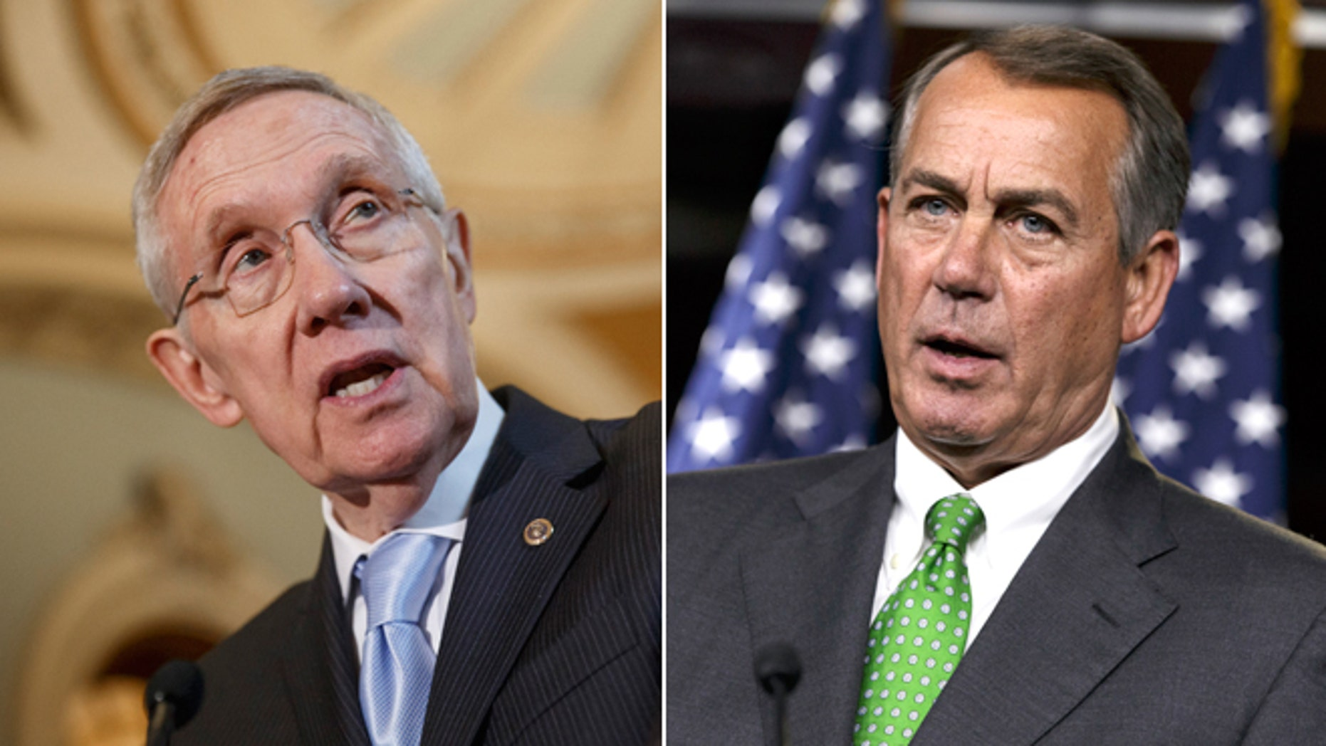 In this Sept. 16, 2014, file photo, Senate Majority Leader Harry Reid, D-Nev., speaks with reporters and in this Sept. 11, 2014, photo, House Speaker John Boehner of Ohio speaks during a news conference, both on Capitol Hill in Washington.