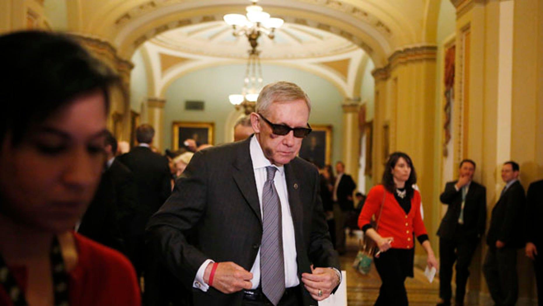 FILE: Feb. 24, 2015: Senate Minority Leader Harry Reid, D-Nevada, on Capitol Hill, in Washington, D.C.