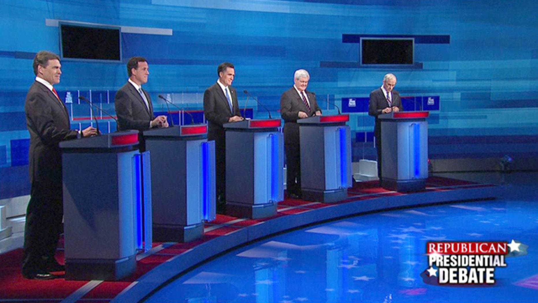 Jan. 16, 2012: Rick Perry, Rick Santorum, Mitt Romney, Newt Gingrich and Ron Paul square off in the Fox News/Wall Street Journal debate in Myrtle Beach, S.C.