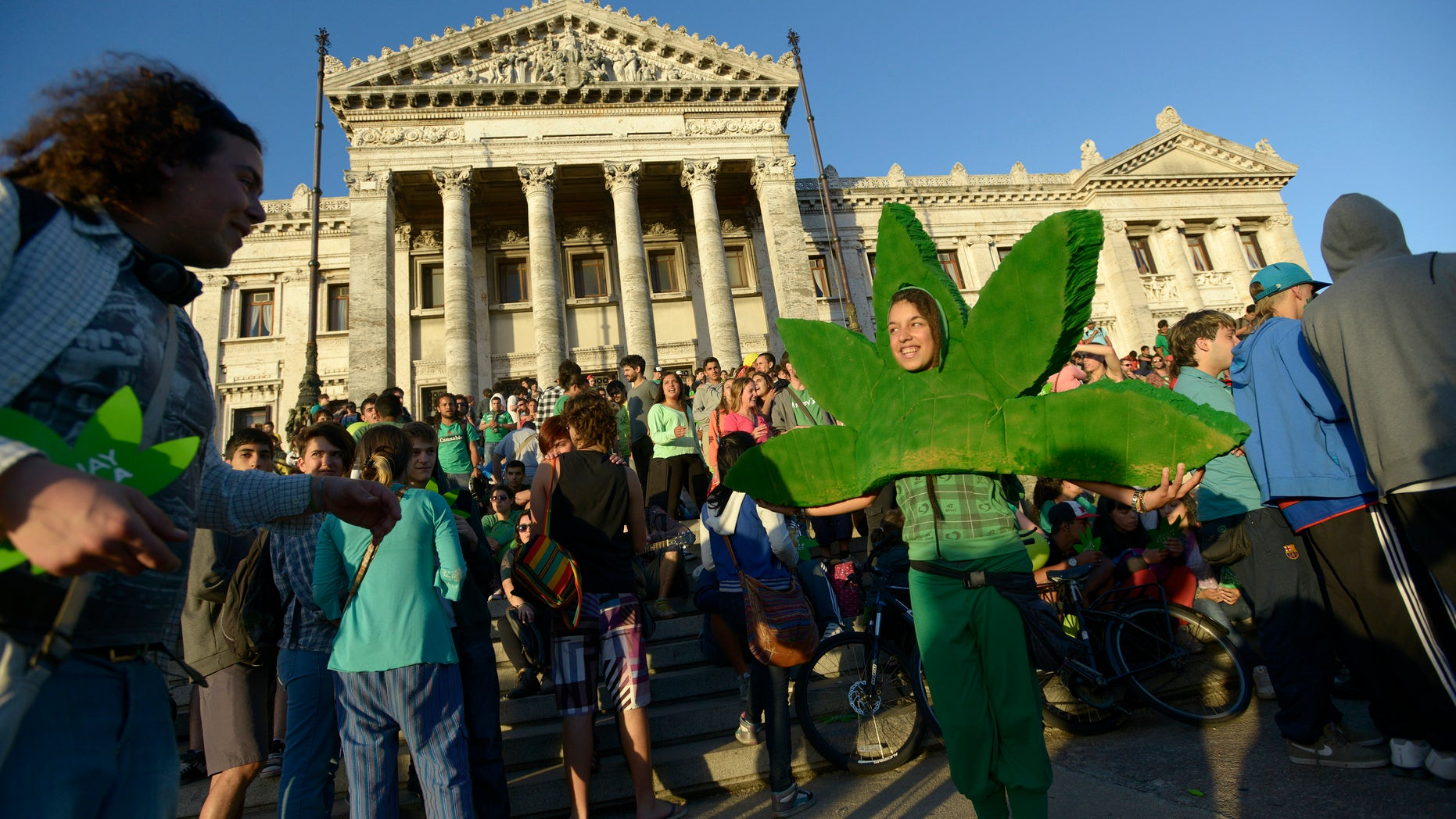 ADVANCE FOR USE SUNDAY, FEB. 16, 2014, AND THEREAFTER - FILE - In this Dec. 10, 2013 photo, people attend a demonstration in support of the legalization of marijuana outside the Congress in Montevideo, Uruguay. Uruguay's Senate approved the world's first national marketplace for legal marijuana. From the Americas to Europe to North Africa and beyond, the marijuana legalization movement has unprecedented traction, a nod to successful efforts in Colorado, Washington and the small South American nation of Uruguay, which became the first country to approve nationwide pot legalization. (AP Photo/Matilde Campodonico, File)