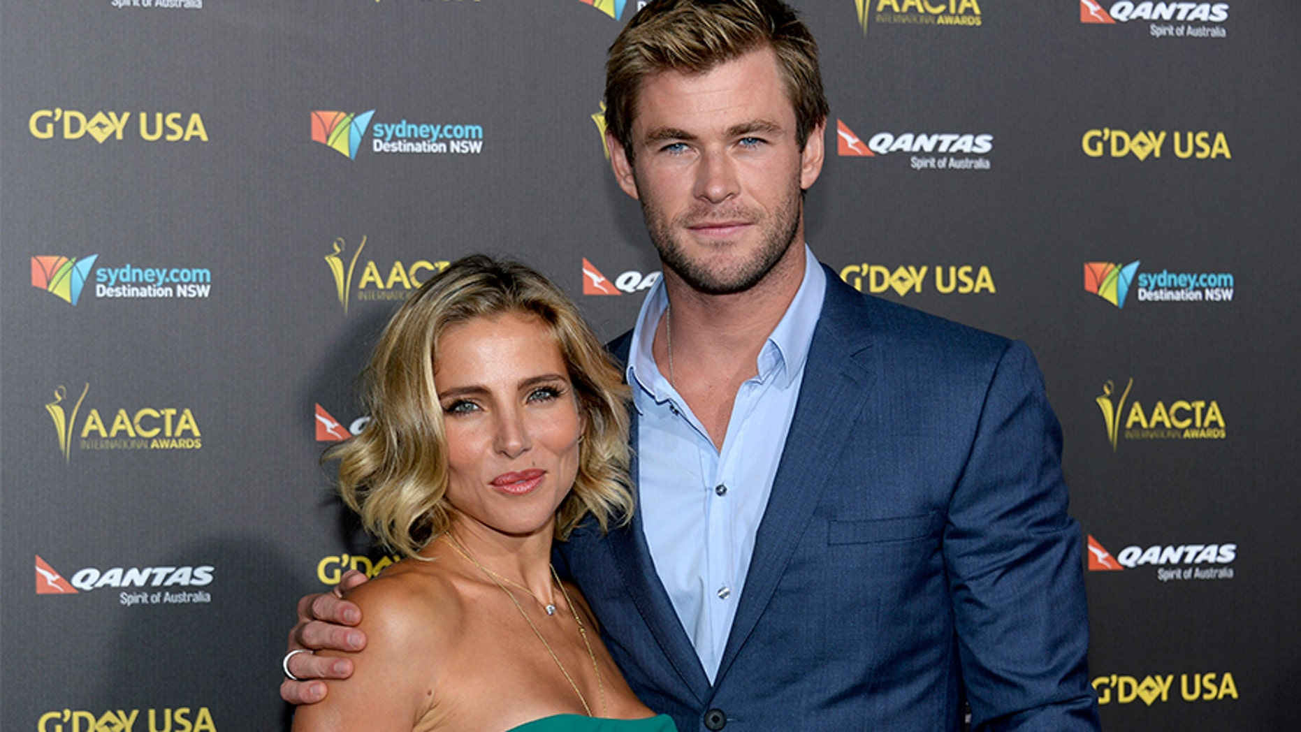 Actor Chris Hemsworth and wife Elsa Pataky at the Hollywood Palladium in Los Angeles, California January 31, 2015.