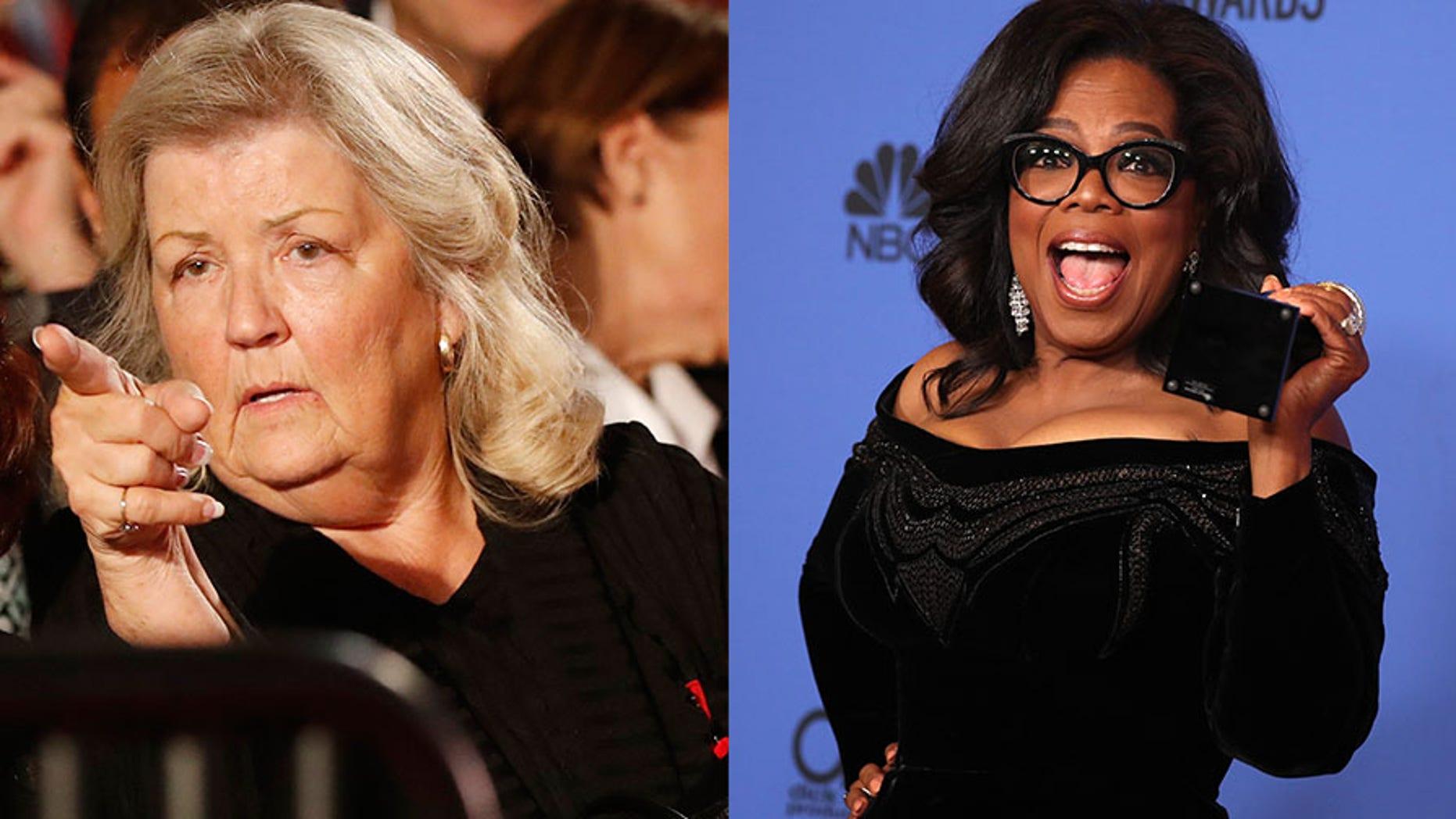 Juanita Broaddrick (left) slammed Oprah Winfrey's Golden Globes speech, claiming the celebrity talk show host ignored her claims that former President Bill Clinton raped her over 20 years ago.