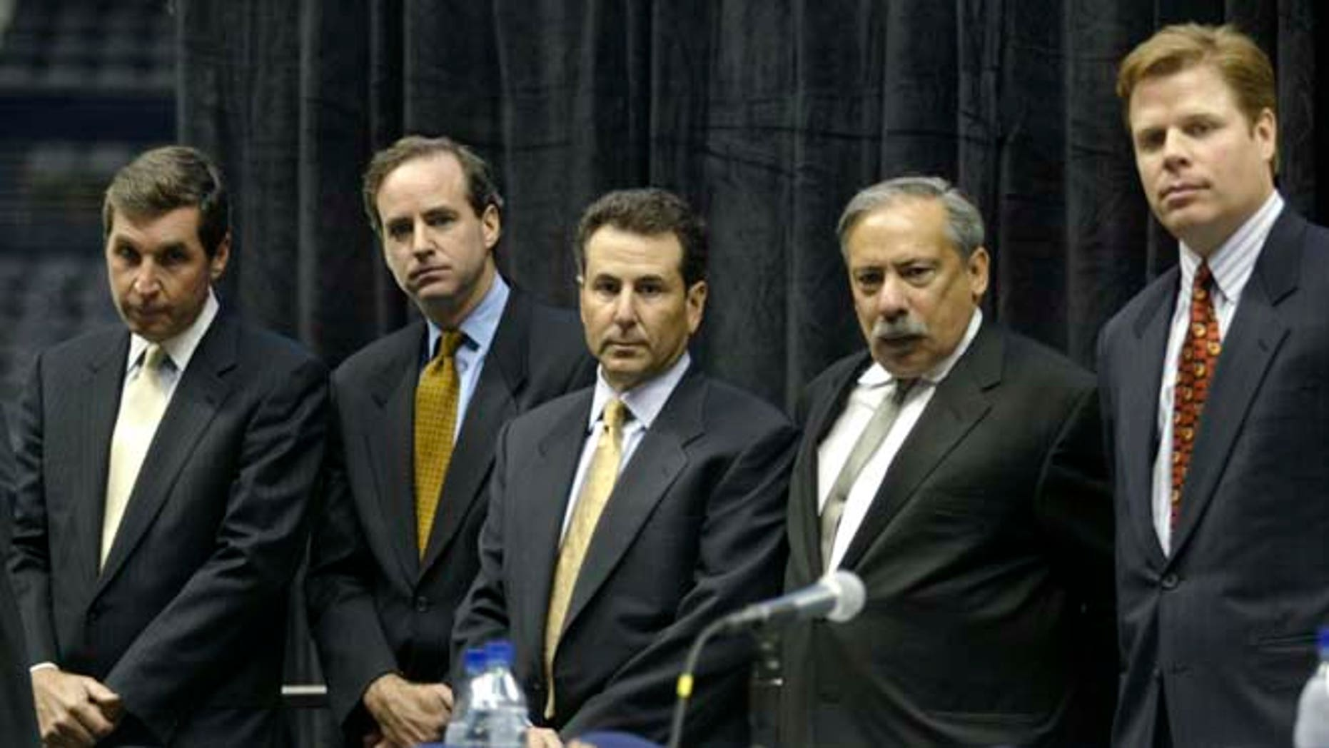 September 16, 2003: Primary owners, from left to right, Steve Belkin, J. Michael Gearon Jr., Bruce Levenson, Ed Peskowitz, and John Rutherford Seydel II, who have acquired the Atlanta Hawks NBA team and the Atlanta Thrashers NHL team, and operating rights to the Philips Arena, listen to a questionduring a press conference in Atlanta. (Reuters)