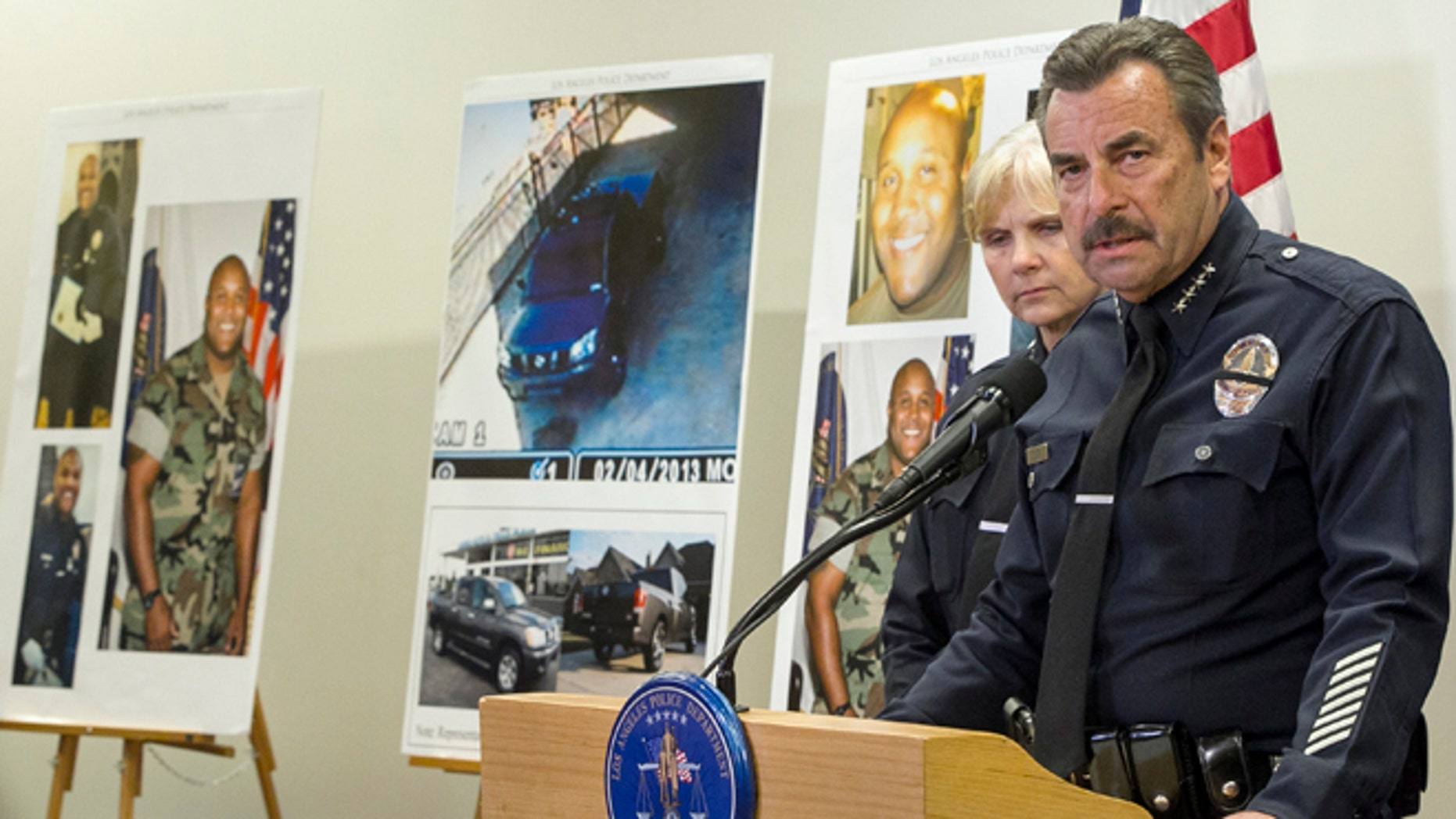 FILE 2013: Los Angeles Police Chief Charlie Beck comments on fired officer, Christopher Dorner, seen left on police photos, during a news conference at the LAPD headquarters.
