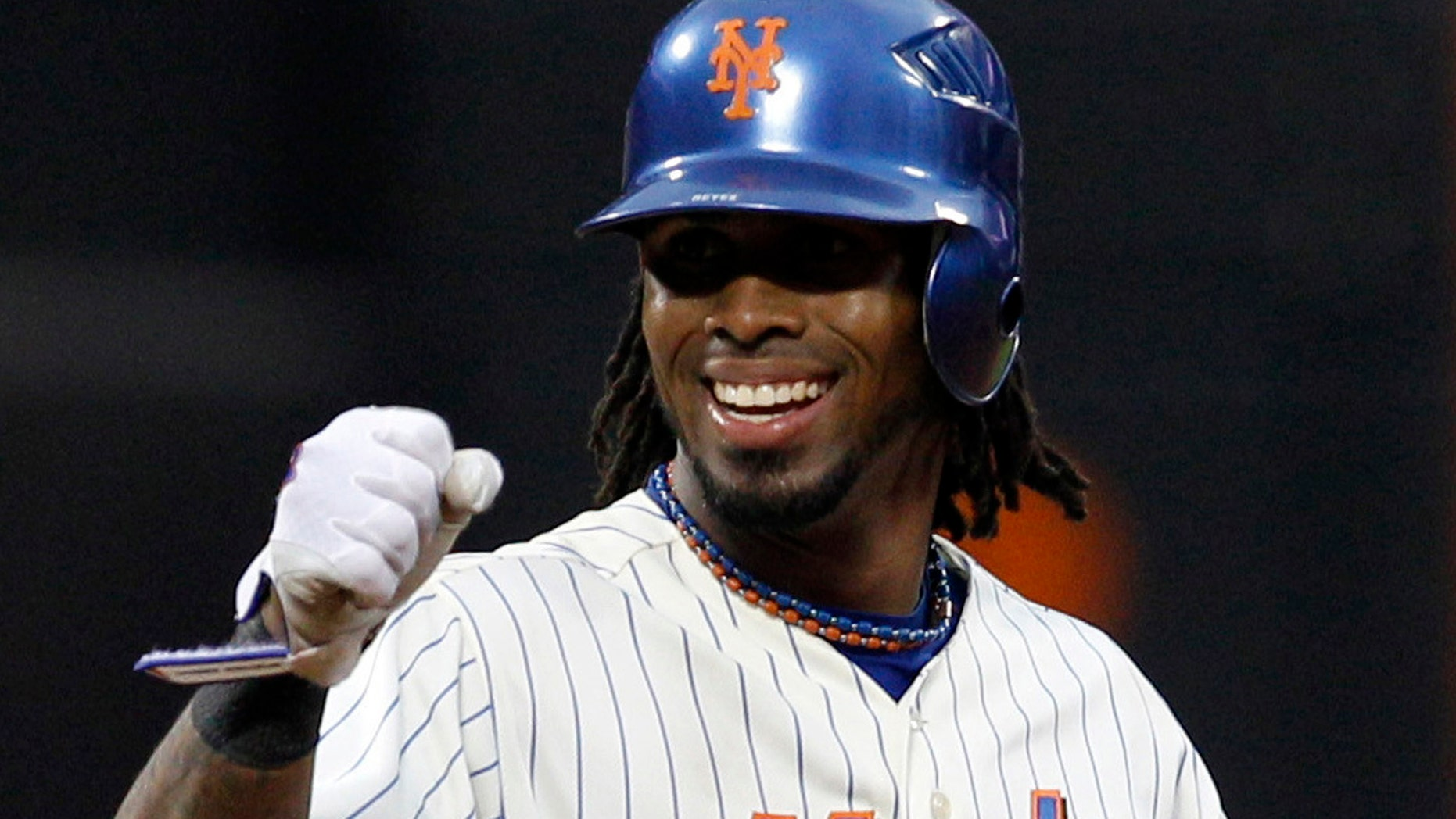 FILE - In this Sept. 29, 2010, file photo, New York Mets shortstop Jose Reyes reacts after hitting a double during the first game of a baseball doubleheader against the Milwaukee Brewers at Citi Field in New York.  (AP Photo/Kathy Willens, File)