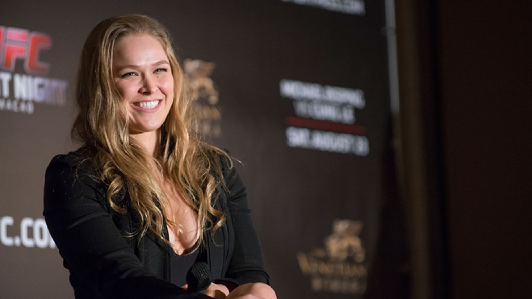 HONG KONG - AUGUST 20:  UFC women's bantamweight champion Ronda Rousey at a Q&A session during the Macao UFC Fight Night Press Conference at the Four Season Hotel on August 20, 2014 in Hong Kong.  (Photo by Anthony Kwan/Getty Images)
