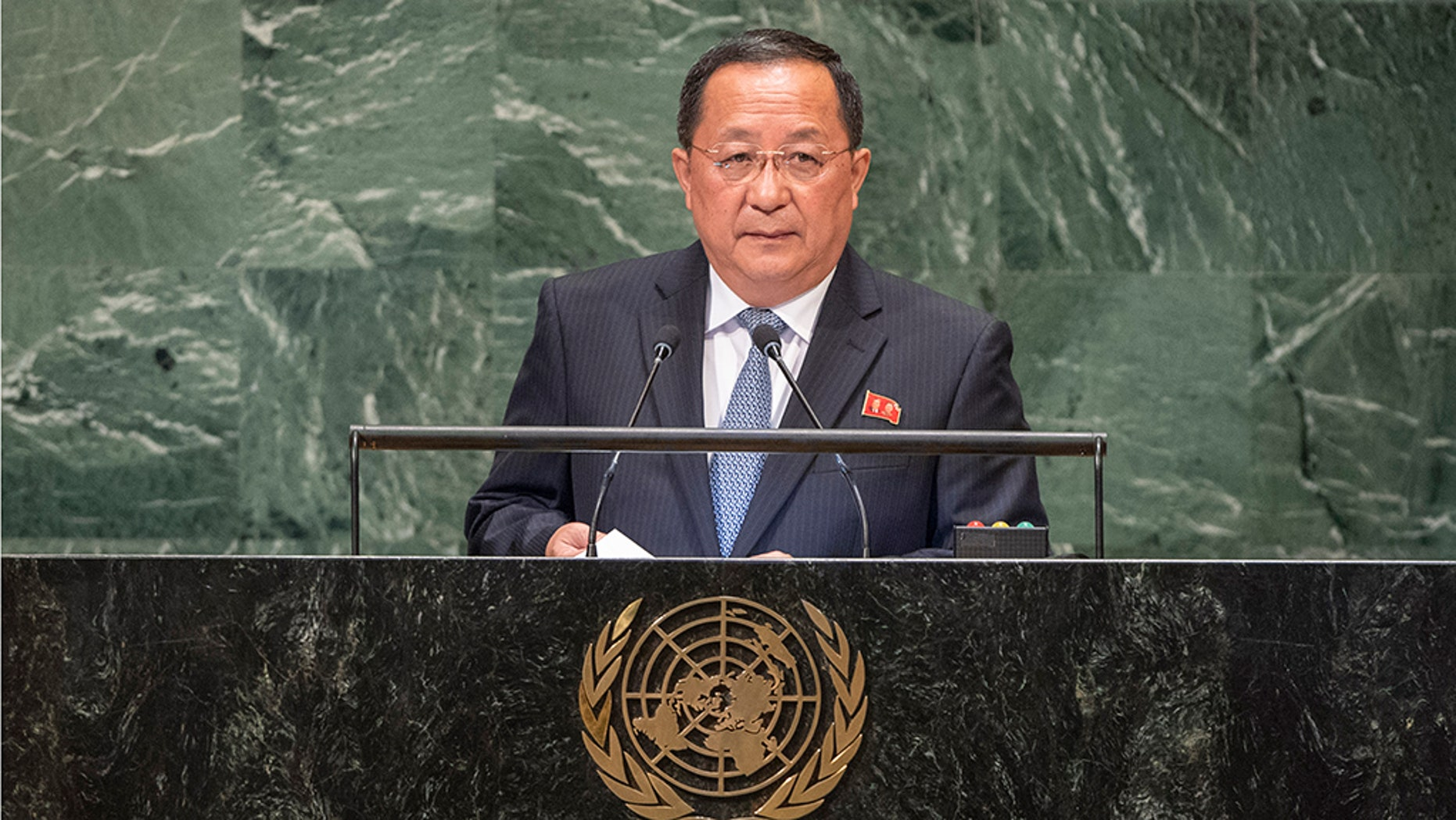 North Korean Foreign Minister Ri Yong Ho addressed the United Nations General Assembly Saturday.