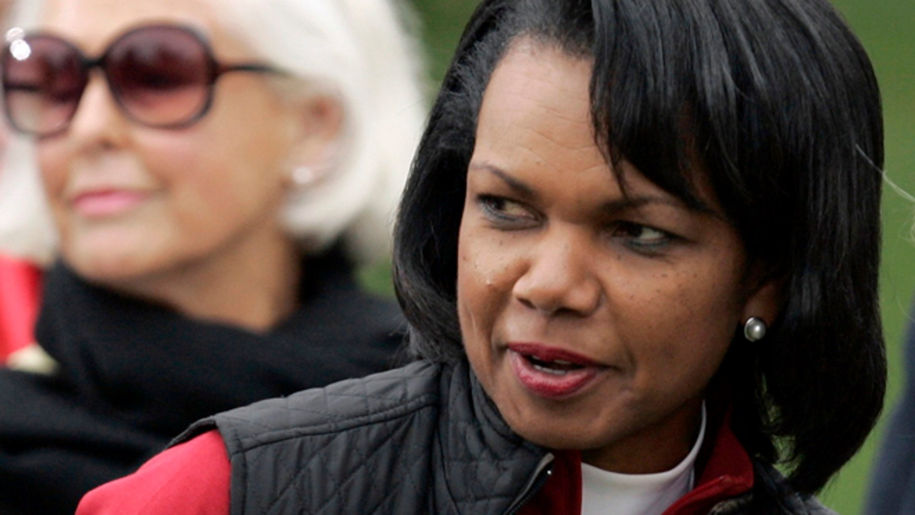 """FILE: Condoleezza Rice said she will not be delivering the commencement address at Rutgers University's graduation ceremony this month, saying the invitation has become a """"distraction."""""""