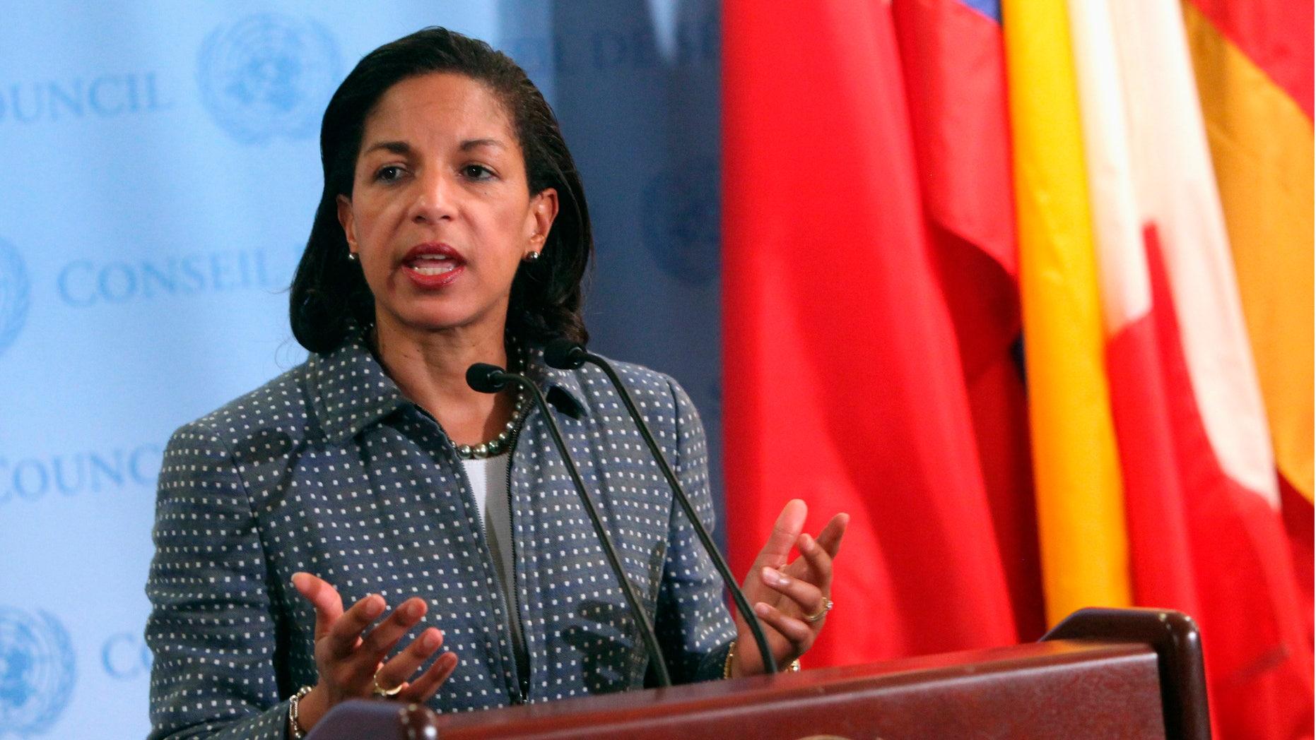 FILE: June 7, 2012: Susan Rice, U.S. ambassador to the United Nations, talks at U.N. headquarters in New York.
