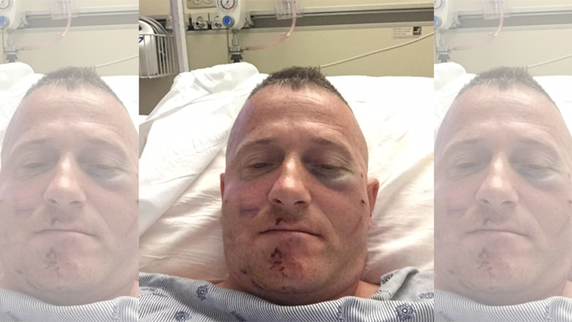 Richard Ojeda at his hospital bed in Charleston, West Virginia. He will undergo surgery on Thursday.