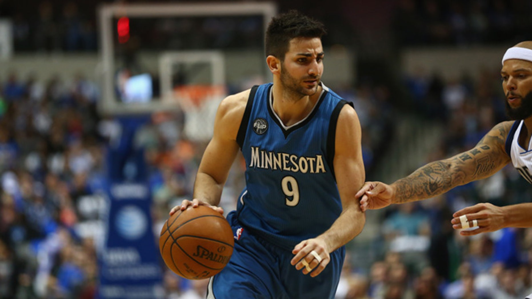 DALLAS, TX - FEBRUARY 28:  Ricky Rubio #9 of the Minnesota Timberwolves at American Airlines Center on February 28, 2016 in Dallas, Texas.  (Photo by Ronald Martinez/Getty Images)